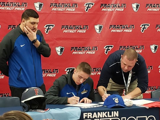 Franklin's Cal Fournier signs to play baseball at Madonna next season.