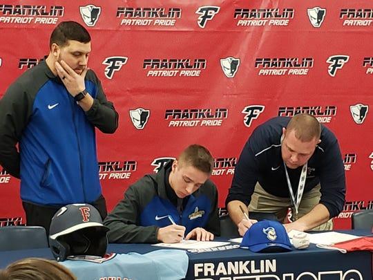 Franklin's Cal Fournier signs to play baseball at Madonna next season.