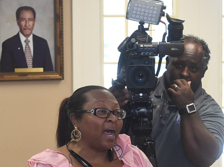 Press conference held Friday at Opelousas City Hall to announce donation by Giles Automotive for three churches in St. Landry Parish that were destroyed by arsonist fires.