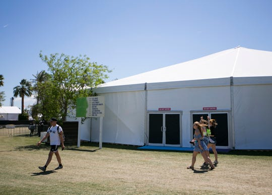 Festival goers walk past the Sonora stage at the Coachella Valley Music and Arts Festival in Indio, Calif. on Fri. April 12, 2019.