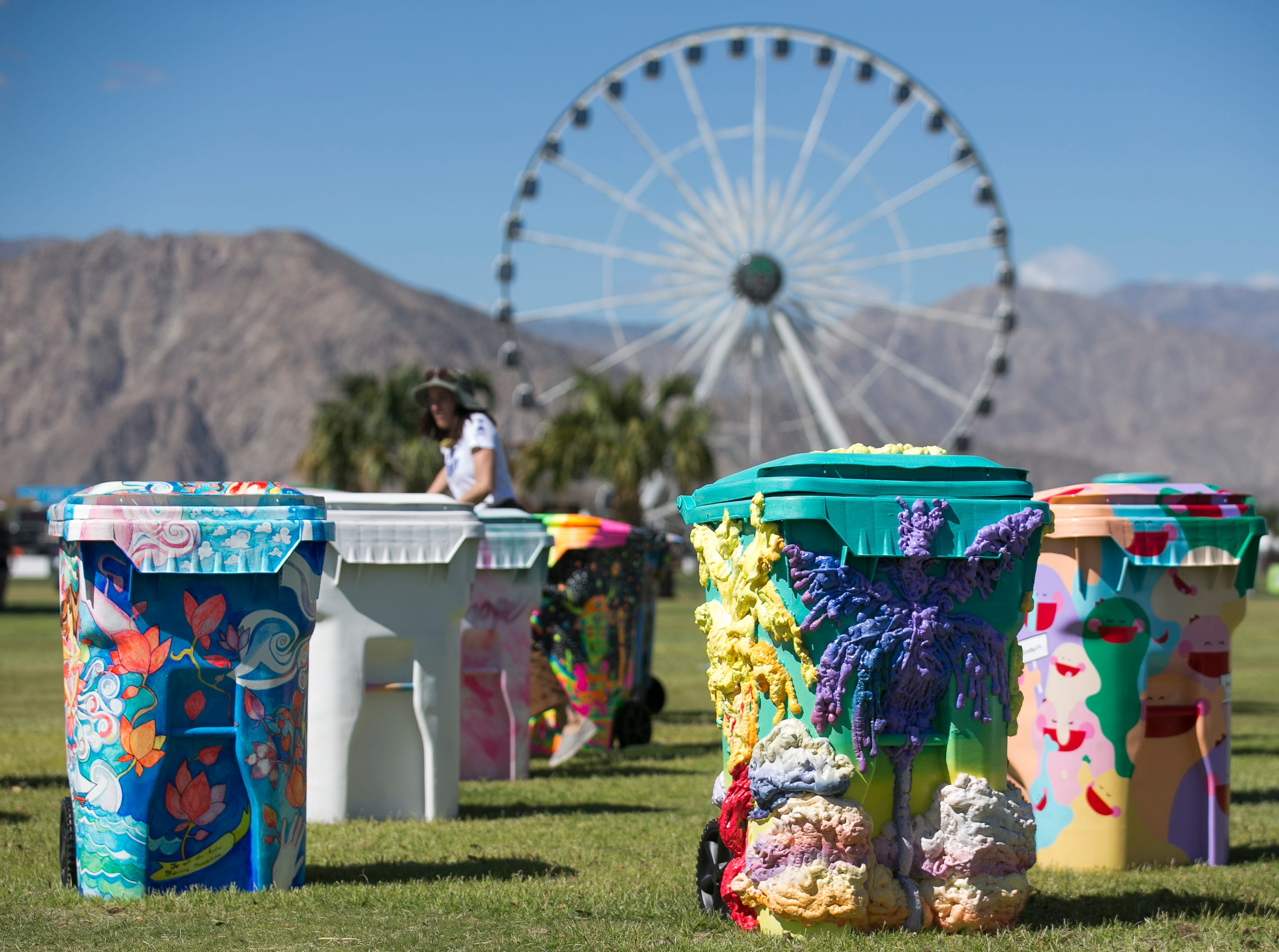 """Art installation """"TRASHed Coachella"""" by Eric Ritz with Global Inheritance sits near the lobby at the Coachella Valley Music and Arts Festival in Indio, Calif. on Fri. April 12, 2019. The bins were set to be donated to schools along the border after the festival."""