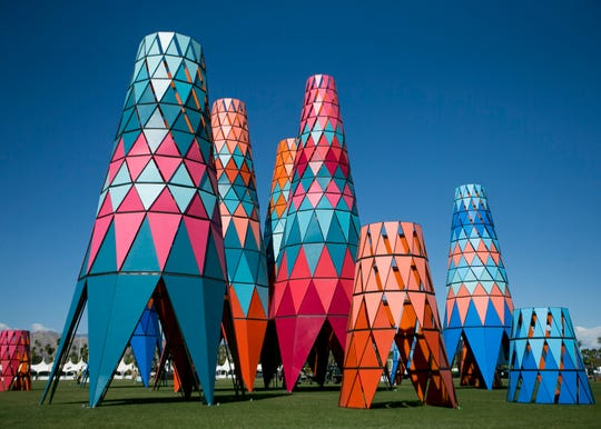 """Art installation """"SarbalŽ ke"""" by Burkina Faso is seen near the main stage at the Coachella Valley Music and Arts Festival in Indio, Calif. on Fri. April 12, 2019."""