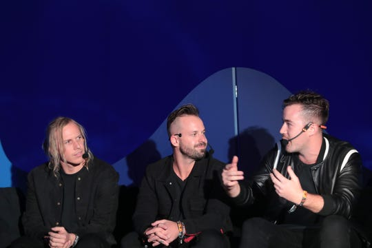 Rüfüs Du Sol including (from left) Tyrone Lindqvist, Jon George and James Hunt, discuss their music video in the HP Antarctic Dome at the Coachella Valley Music and Arts Festival.