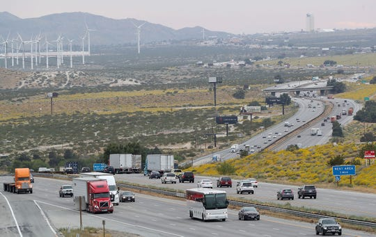 Commuters travel along Interstate 10 just west of Palm Springs at Whitewater on Thursday, April 11, 2019.