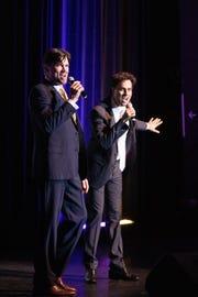 Broadway stars David Burnham, at left, and Brent Barrett entertain the private audience.