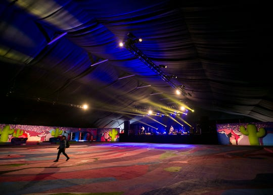 """Peggy Noland's """"Foiled Plan"""" art installation is seen here during a light check inside the Sonora Stage at the Coachella Valley Music and Arts Festival in Indio, Calif. on Fri. April 12, 2019."""