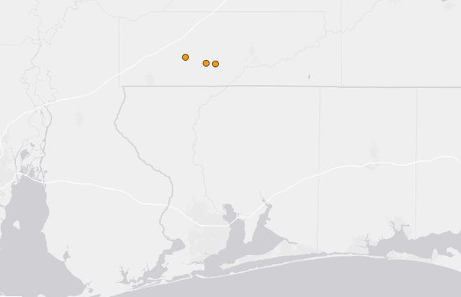 The USGS recorded three more minor earthquakes near the Florida/Alabama state line on Thursday.