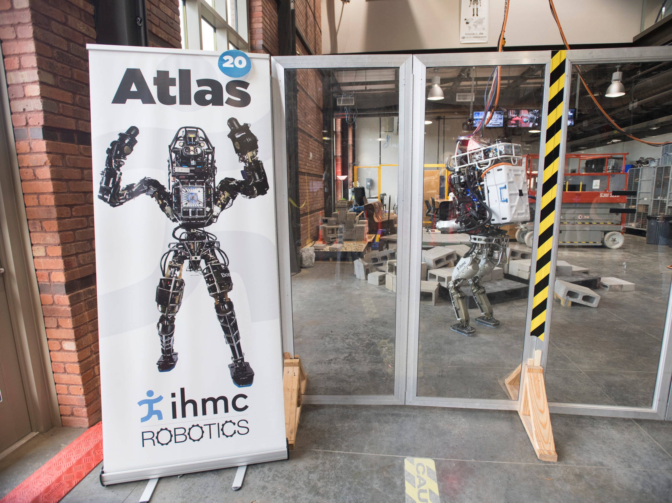 The Atlas robot on display during the IHMC Open House in downtown Pensacola on Friday, April 12, 2019.