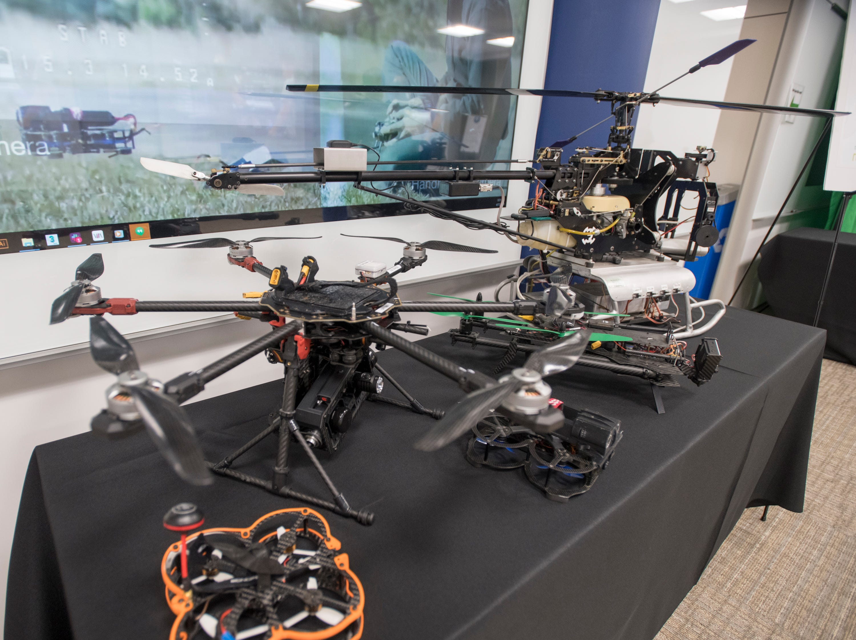 Drones on display during the IHMC Open House in downtown Pensacola on Friday, April 12, 2019.
