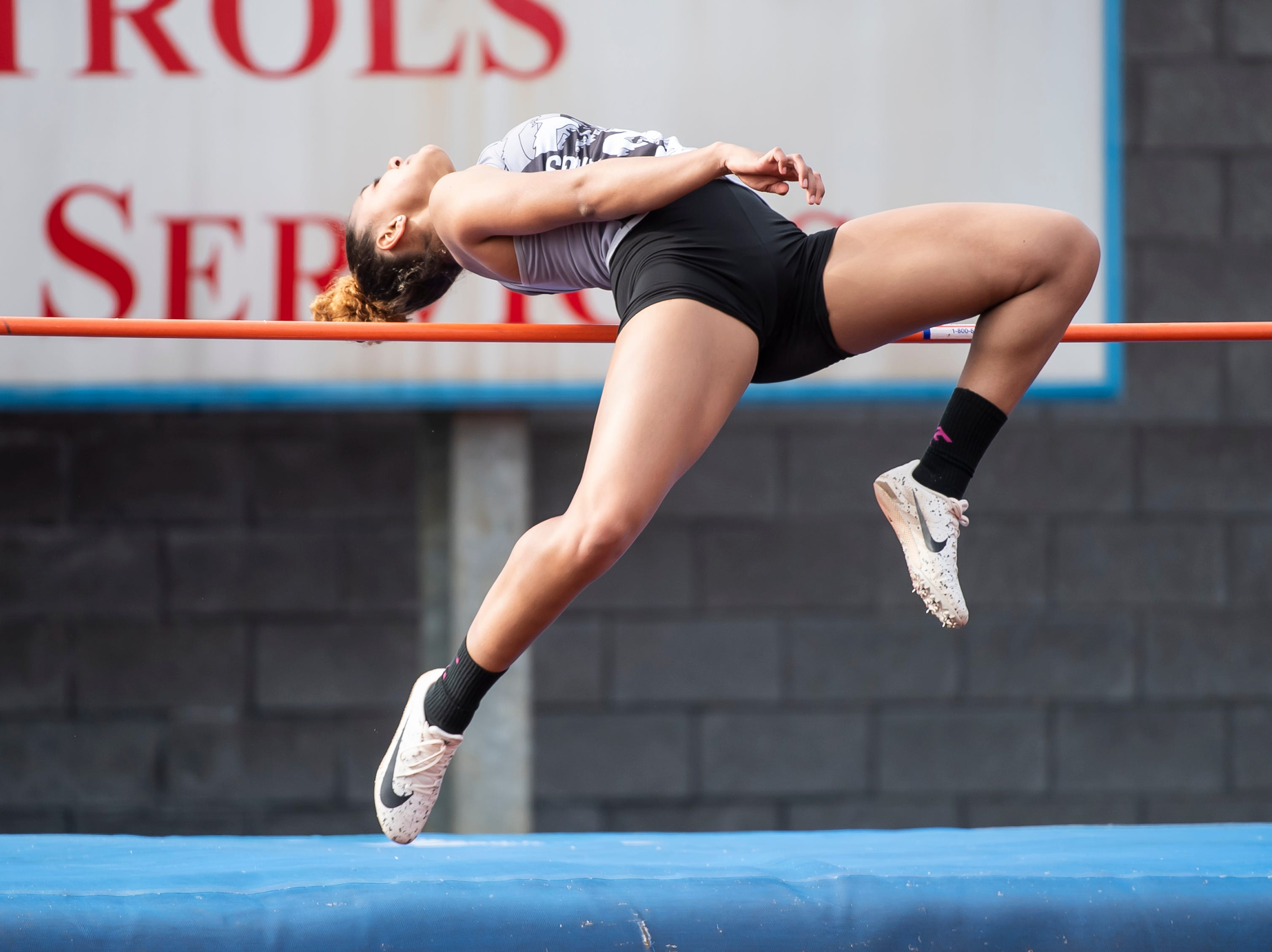 South Western's Kayla Brooks competes in the high jump during a track and field meet against Spring Grove on Thursday, April 11, 2019.