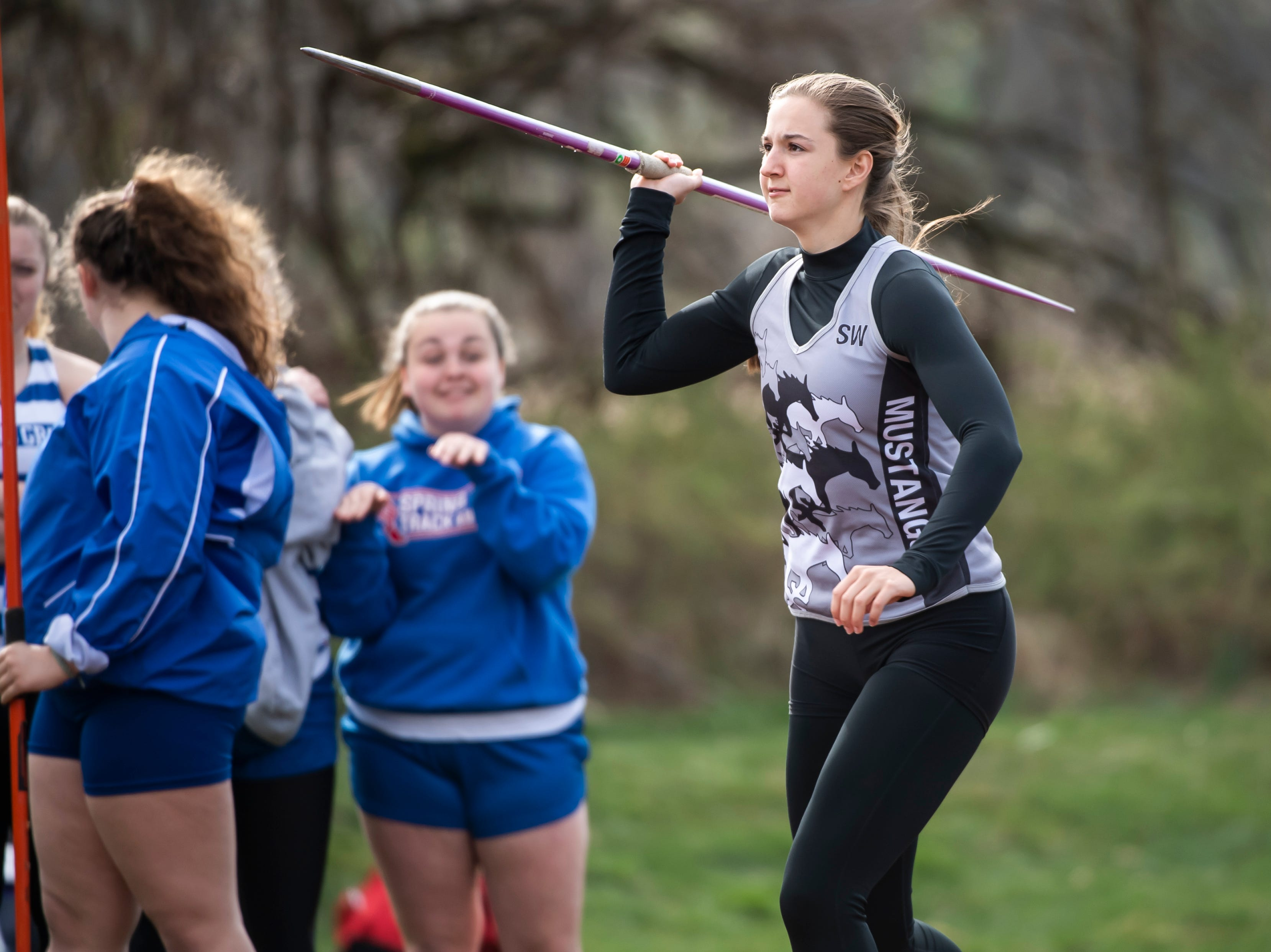 South Western's Taylor Geiman competes in the javelin throw during a track and field meet against Spring Grove on Thursday, April 11, 2019.