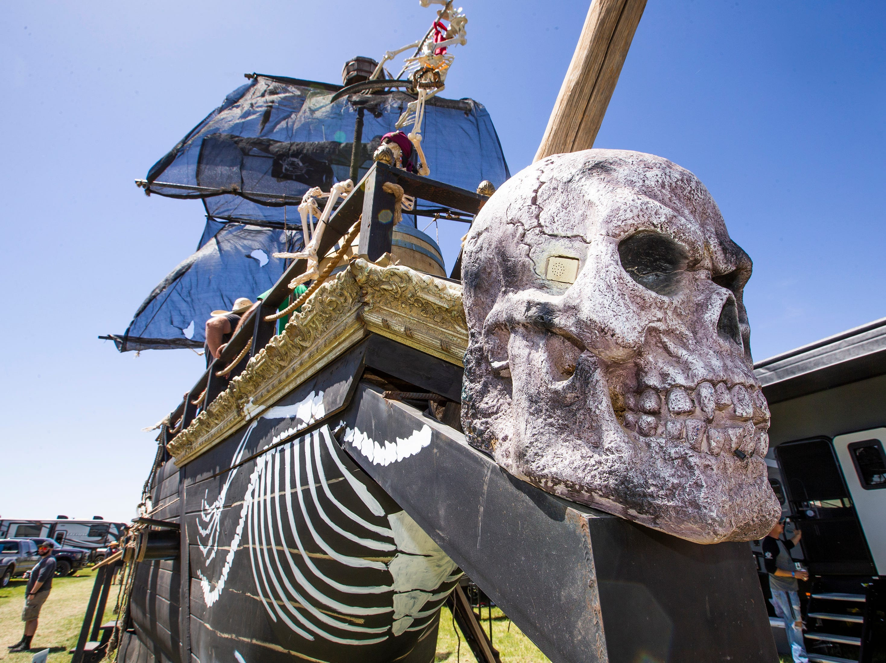 A pirate ship, built by Sean Franklin, 41, Queen Creek, Rich Reeves, 32, Mesa, and Christian Zeitler, 34, Queen Creek, is a hit at Country Thunder Arizona 2019 near Florence, Thursday, April 11, 2019. The ship has cannons that shoot water and a bar.