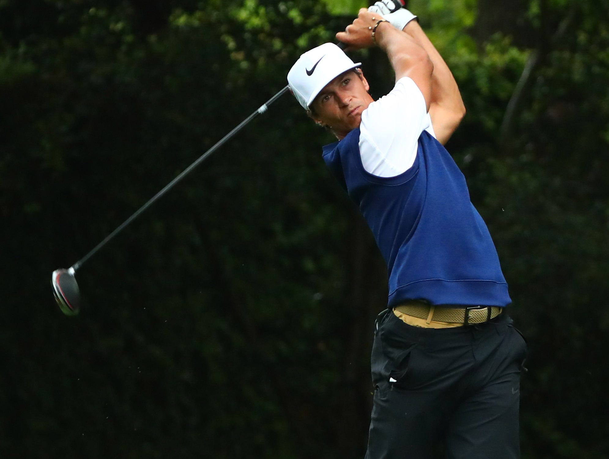 Apr 12, 2019; Augusta, GA, USA; Thorbjorn Olesen hits his tee shot on the 2nd hole during the second round of The Masters golf tournament at Augusta National Golf Club. Mandatory Credit: Rob Schumacher-USA TODAY Sports
