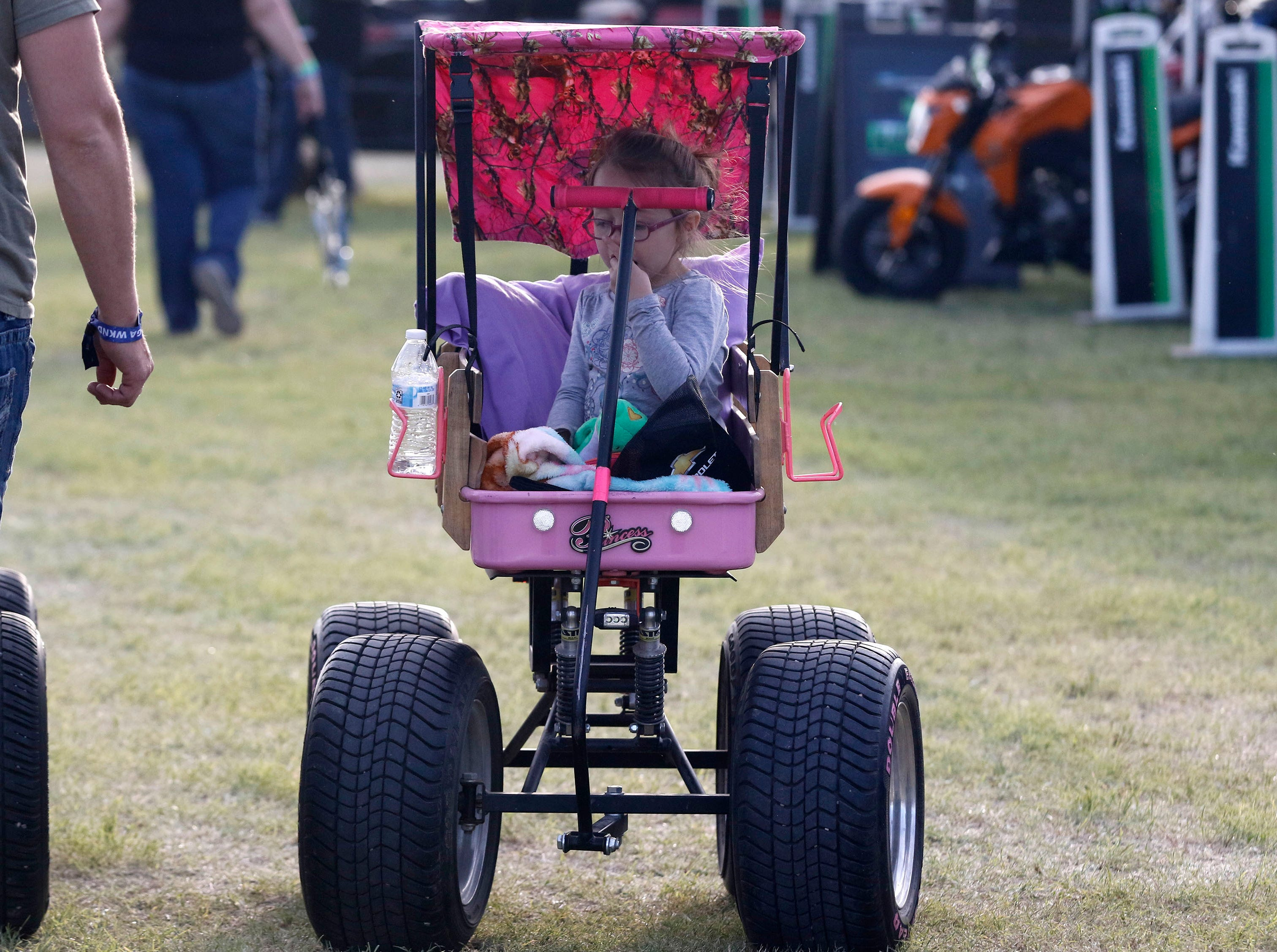 This little princess is traveling in style during Country Thunder Arizona on April 11, 2019, in Florence, Arizona.