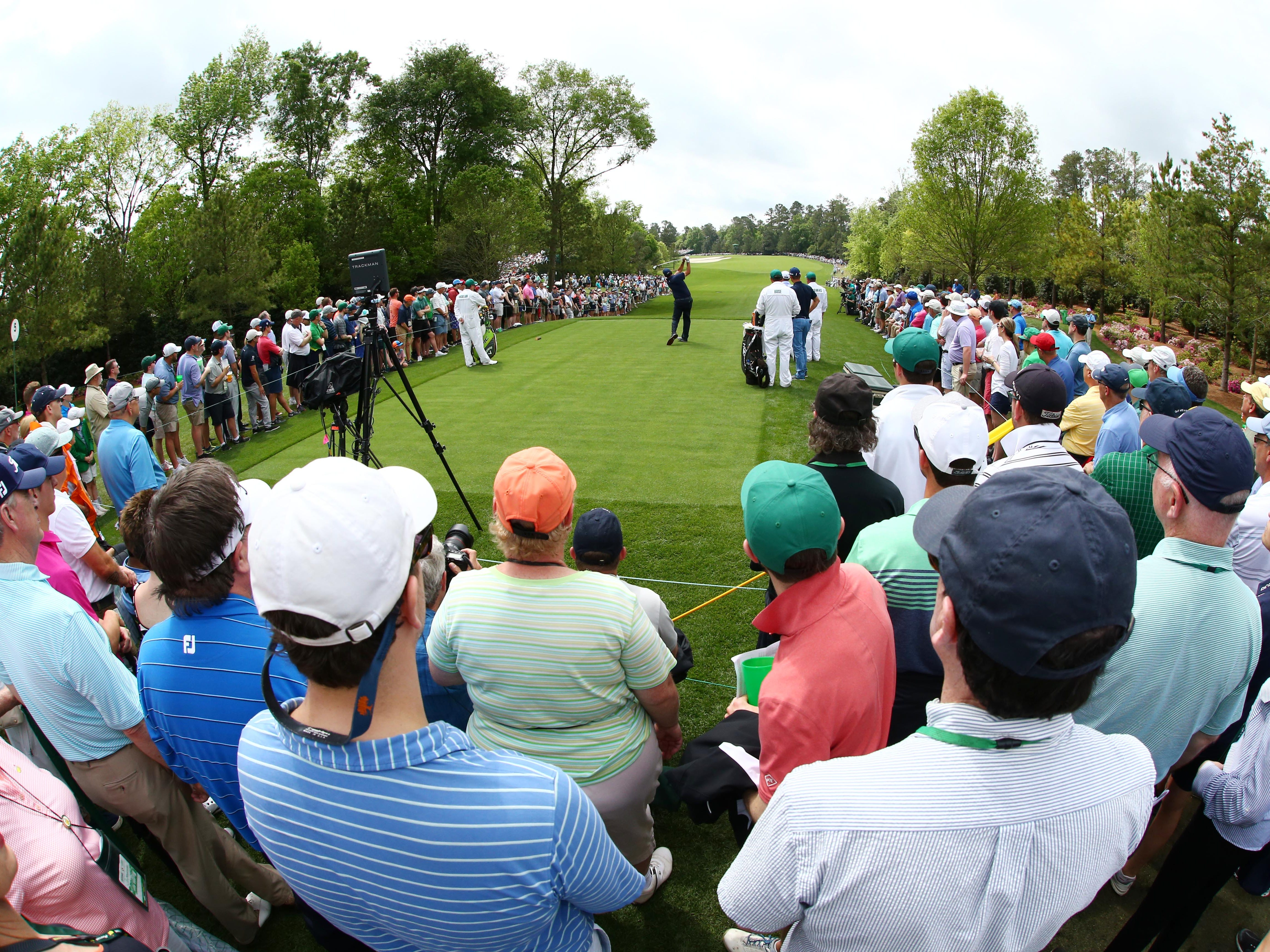 Apr 12, 2019; Augusta, GA, USA; Phil Mickelson hits his tee shot on the 5th hole  during the second round of The Masters golf tournament at Augusta National Golf Club. Mandatory Credit: Rob Schumacher-USA TODAY Sports
