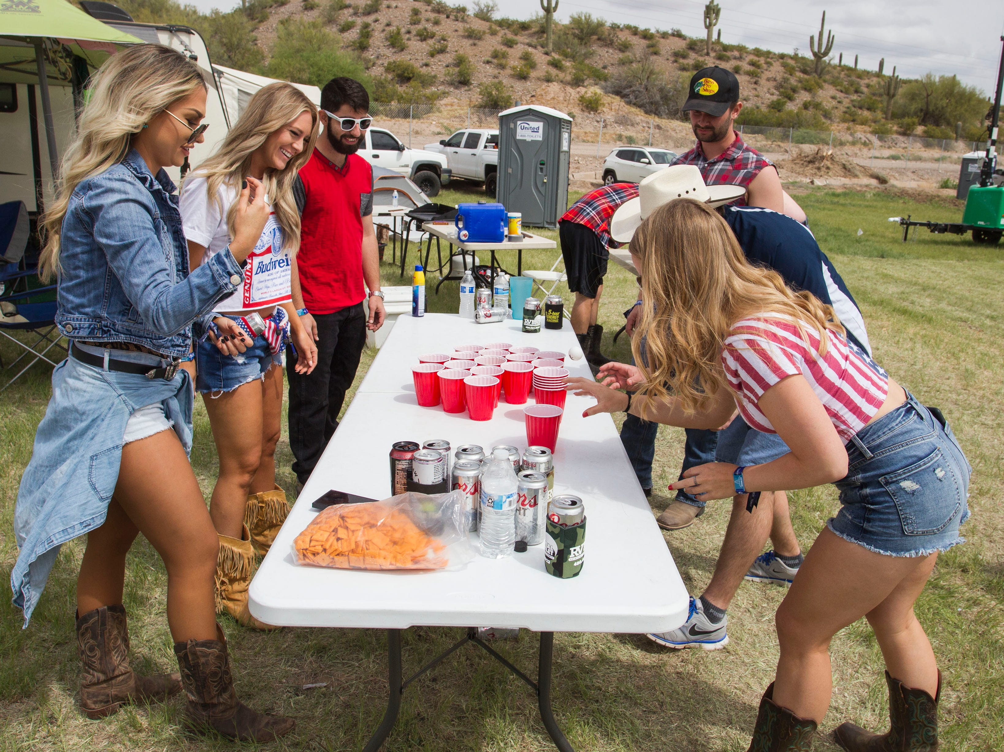 Beer pong for breakfast was a favorite during Country Thunder Arizona on April 12, 2019, in Florence, Ariz.