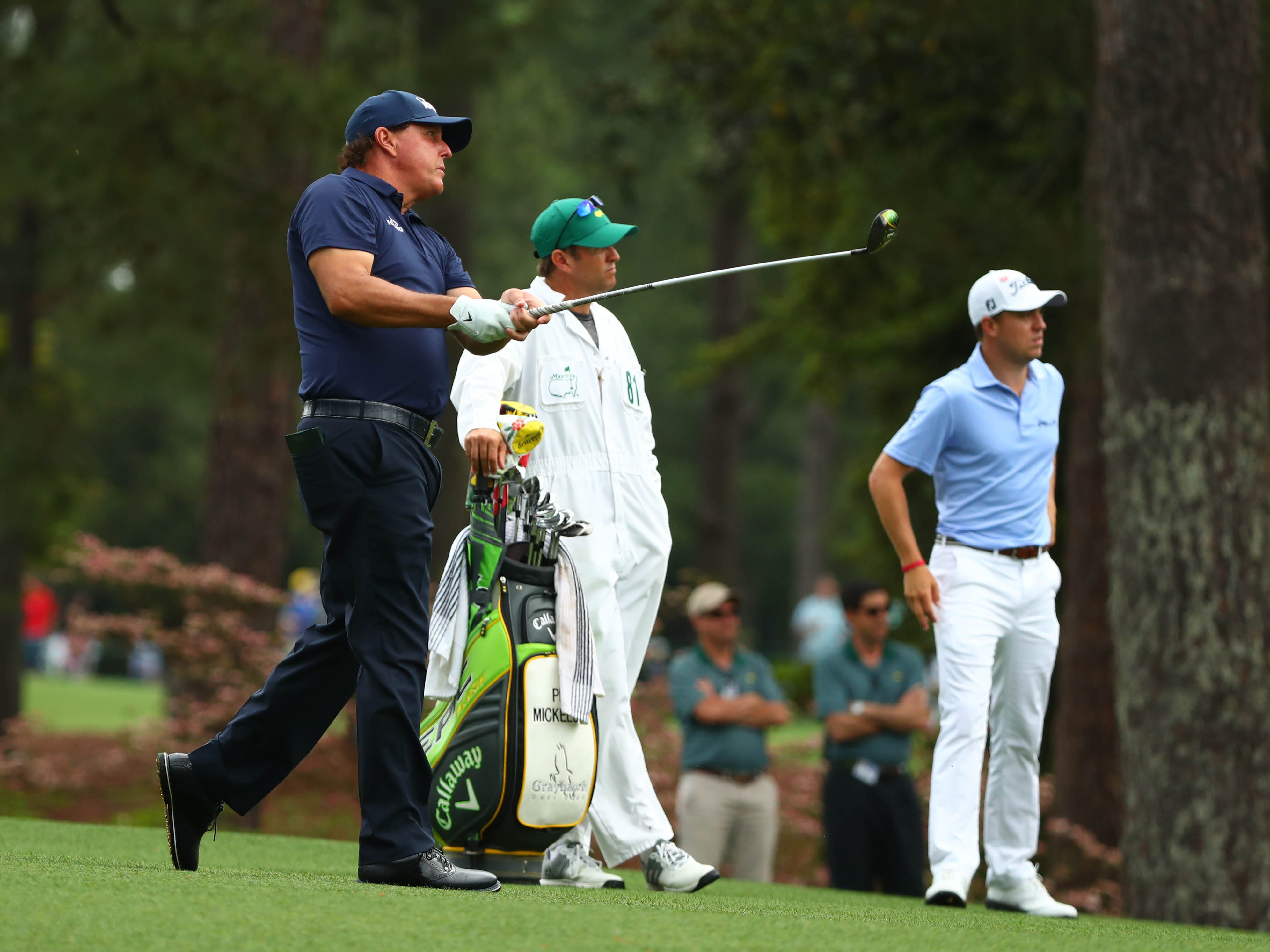 Apr 12, 2019; Augusta, GA, USA; Phil Mickelson hits from the fairway on the 2nd hole during the second round of The Masters golf tournament at Augusta National Golf Club. Mandatory Credit: Rob Schumacher-USA TODAY Sports