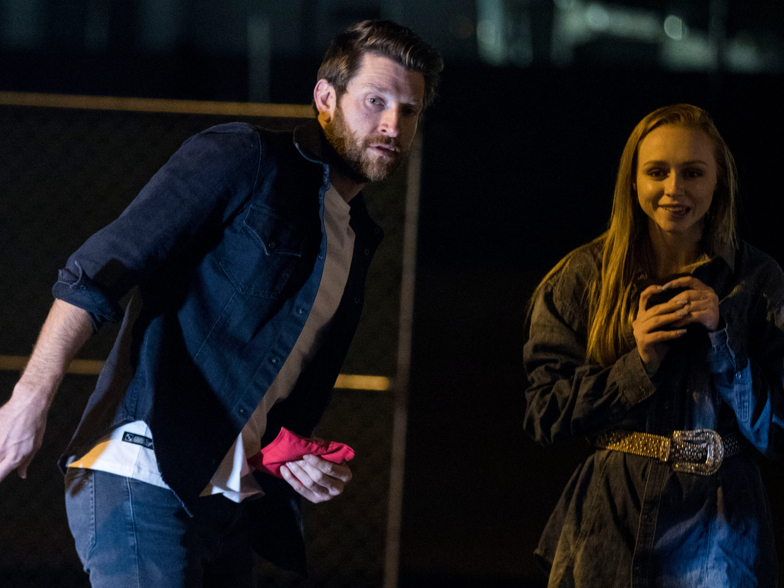 Country superstar Brett Eldredge hopes his body English will help as he plays a game of cornhole with a lucky young lady. Kayla Coffey of Tucson was picked from the audience for the chance meeting with Eldredge while at Country Thunder Arizona on April 11, 2019, in Florence, Ariz.