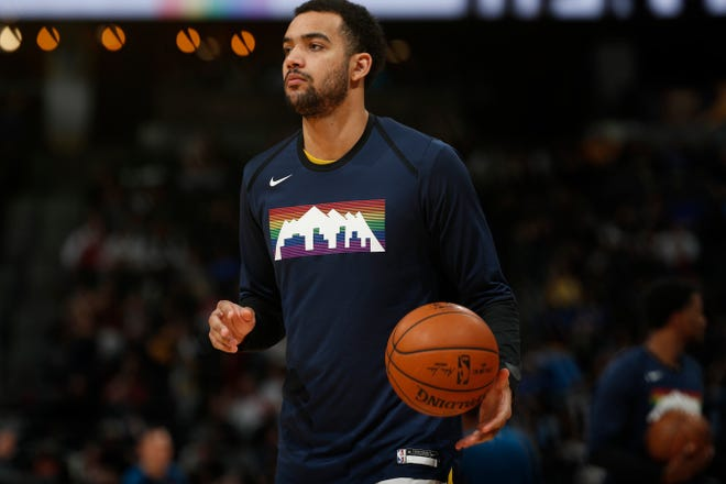 Denver Nuggets forward Trey Lyles (7) in the second half of an NBA basketball game Wednesday, April 10, 2019, in Denver. The Nuggets won 99-95. (AP Photo/David Zalubowski)
