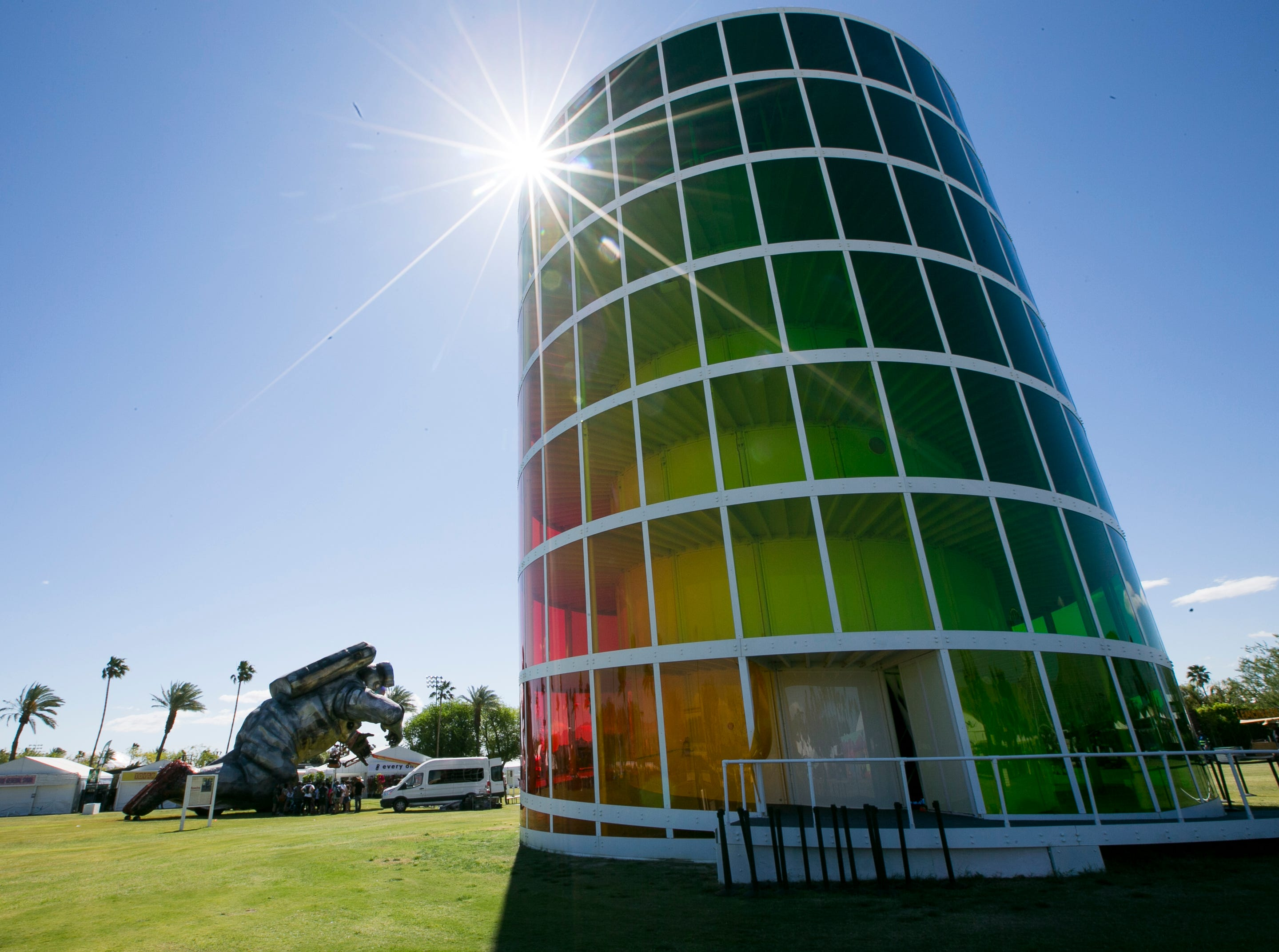 """The sun shines over art installation """"Spectra"""" by Newsubstance at the Coachella Valley Music and Arts Festival in Indio, California, on April 12, 2019."""