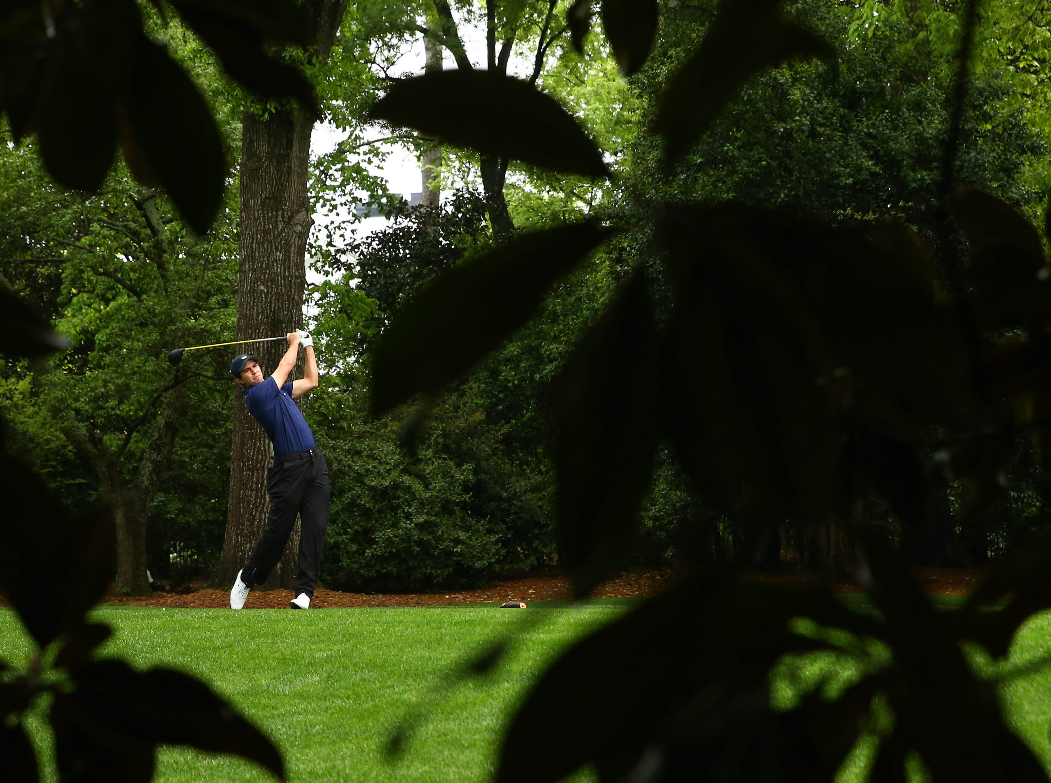 Apr 12, 2019; Augusta, GA, USA; Matt Wallace hits his tee shot on the 2nd hole during the second round of The Masters golf tournament at Augusta National Golf Club. Mandatory Credit: Rob Schumacher-USA TODAY Sports