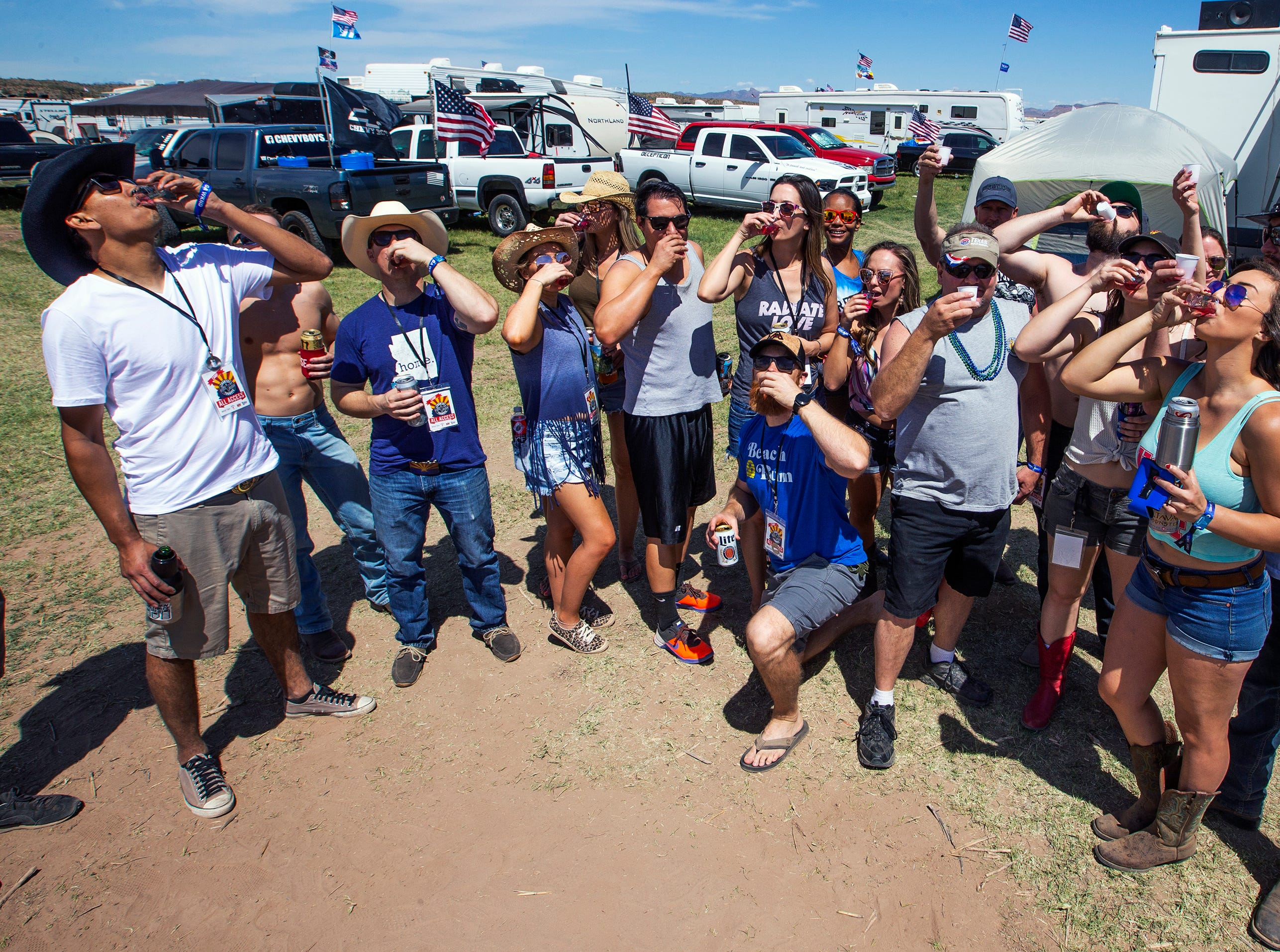 Nothing like shots in camp at the Country Thunder Arizona 2019 music festival, Thursday, April 11, 2019.