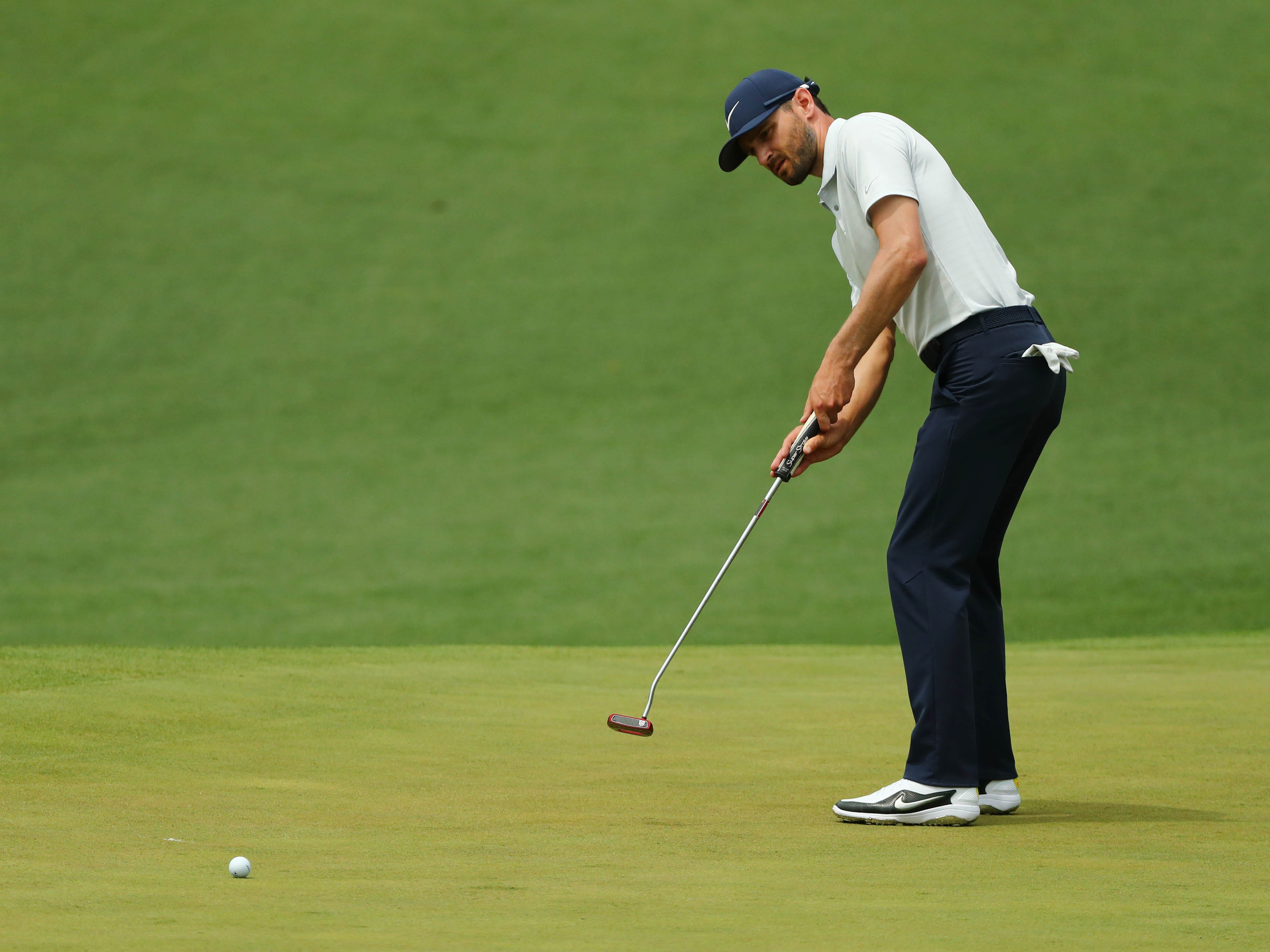 Apr 12, 2019; Augusta, GA, USA; Kyle Stanley putts on the 2nd green during the second round of The Masters golf tournament at Augusta National Golf Club. Mandatory Credit: Rob Schumacher-USA TODAY Sports