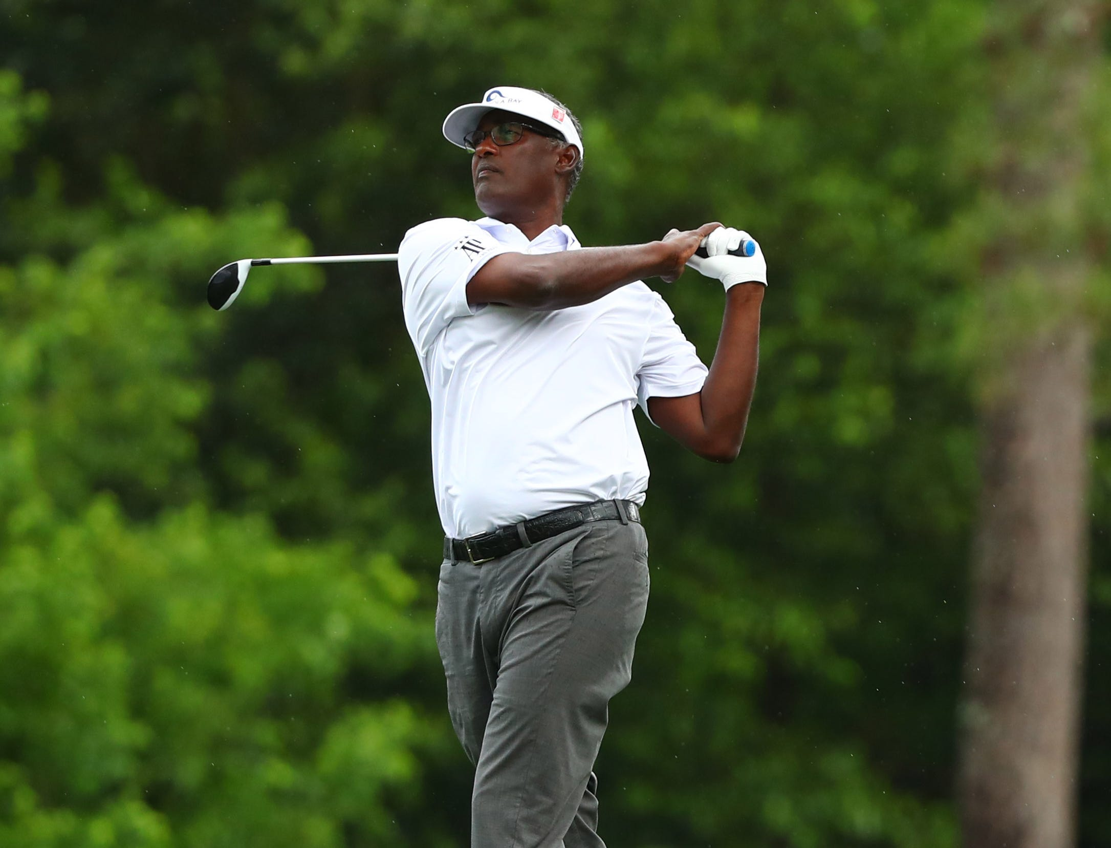 Apr 12, 2019; Augusta, GA, USA; Vijay Singh plays a shot on the 2nd hole during the second round of The Masters golf tournament at Augusta National Golf Club. Mandatory Credit: Rob Schumacher-USA TODAY Sports