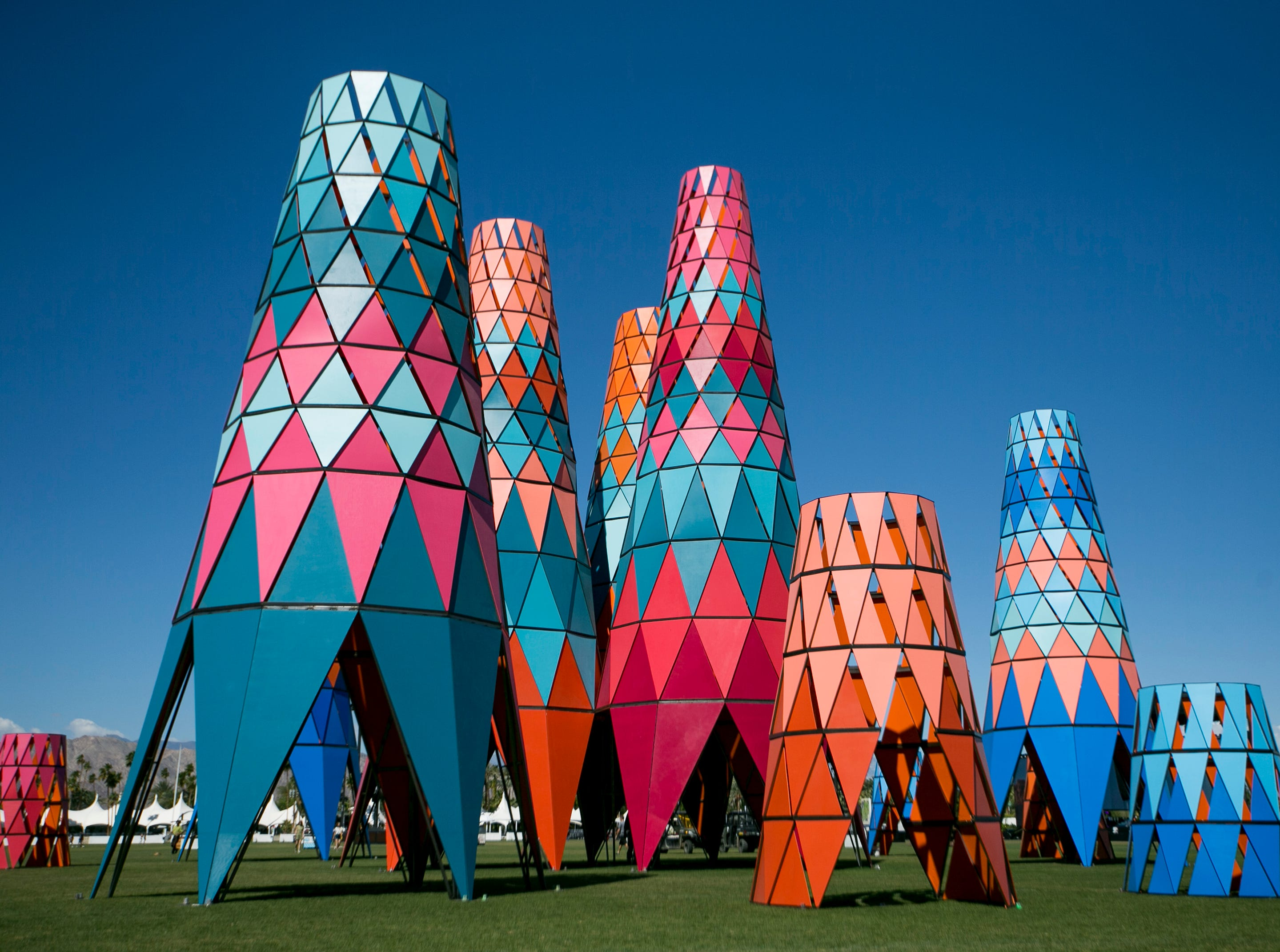 """Art installation """"SarbalŽ ke"""" by Burkina Faso is seen near the main stage at the Coachella Valley Music and Arts Festival in Indio, California, on April 12, 2019."""