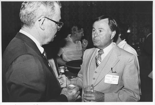 Phoenix Newspapers Inc. President Eugene  S. Pulliam and Mesa Mayor Wayne Pomeroy.