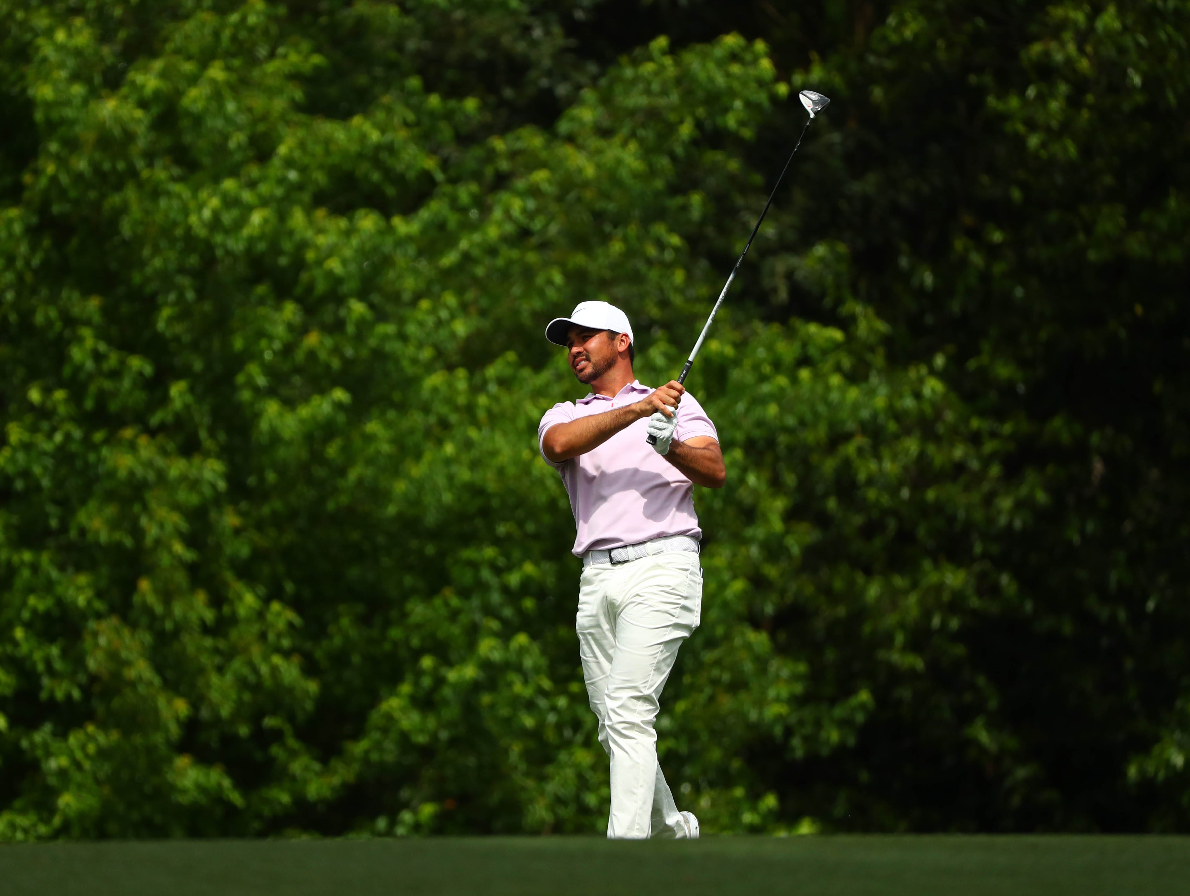 Apr 12, 2019; Augusta, GA, USA; Jason Day plays a shot on the 2nd hole during the second round of The Masters golf tournament at Augusta National Golf Club. Mandatory Credit: Rob Schumacher-USA TODAY Sports