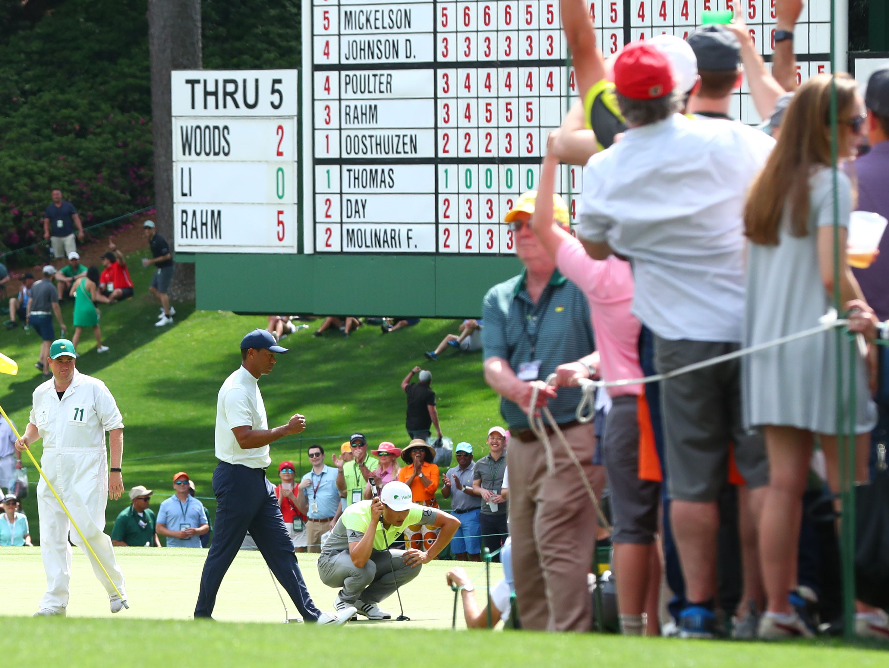 Apr 12, 2019; Augusta, GA, USA; Tiger Woods reacts on the 6th green during the second round of The Masters golf tournament at Augusta National Golf Club. Mandatory Credit: Rob Schumacher-USA TODAY Sports
