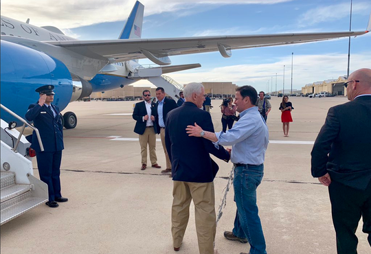 Arizona Gov. Doug Ducey says goodbye to Vice President Mike Pence after the vice president's visit to Nogales, Arizona, and the U.S.-Mexico border on April 11, 2019.