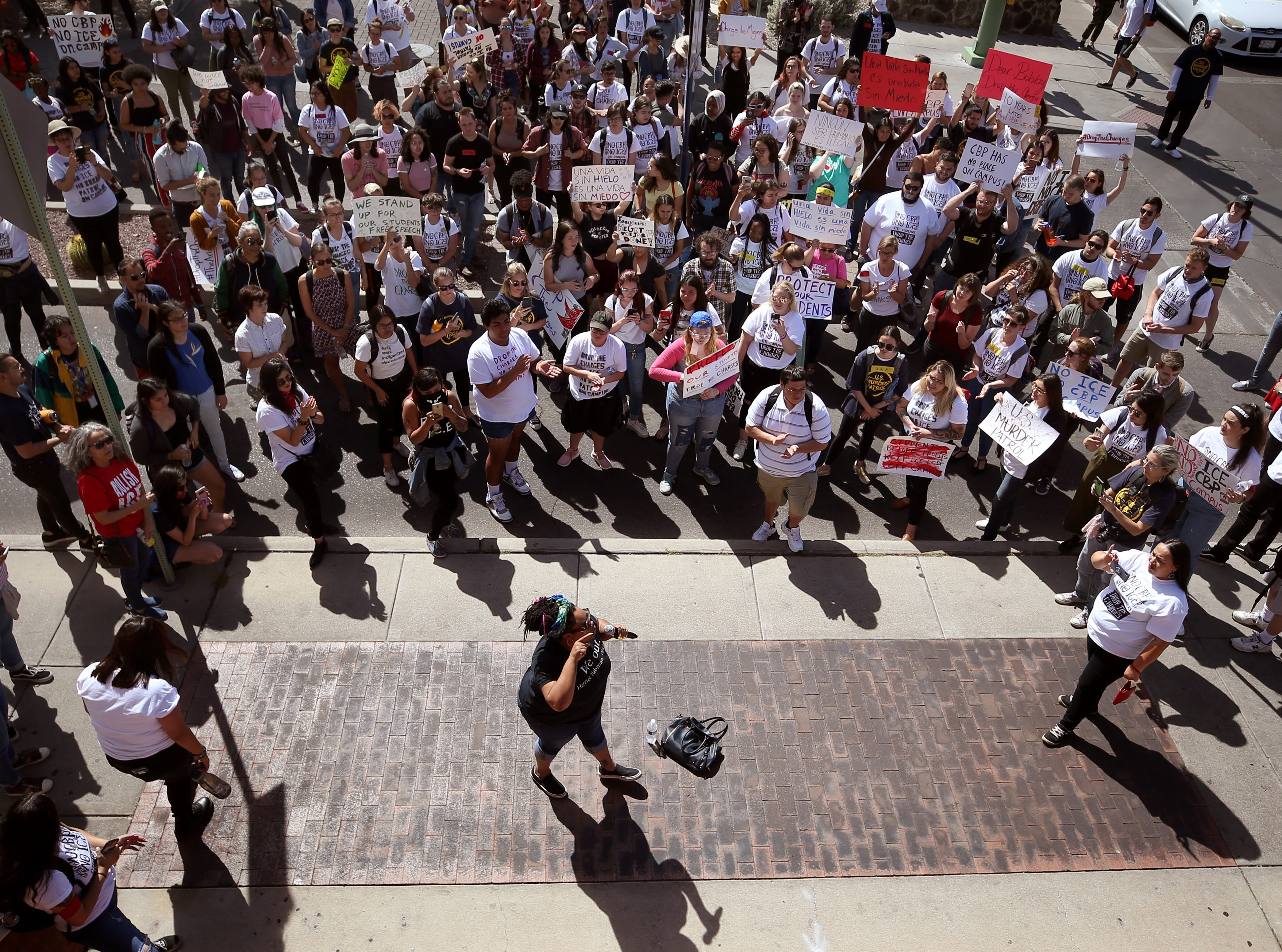 A crowd of about 300 clogs the entrance to the school on Mountain Ave. after they left the Arizona Board of Regents meeting at the U of A. They were protesting of the citing of three students in the interference of the peaceful conduct of an educational institution on April 11, 2019, in Tucson, Ariz.