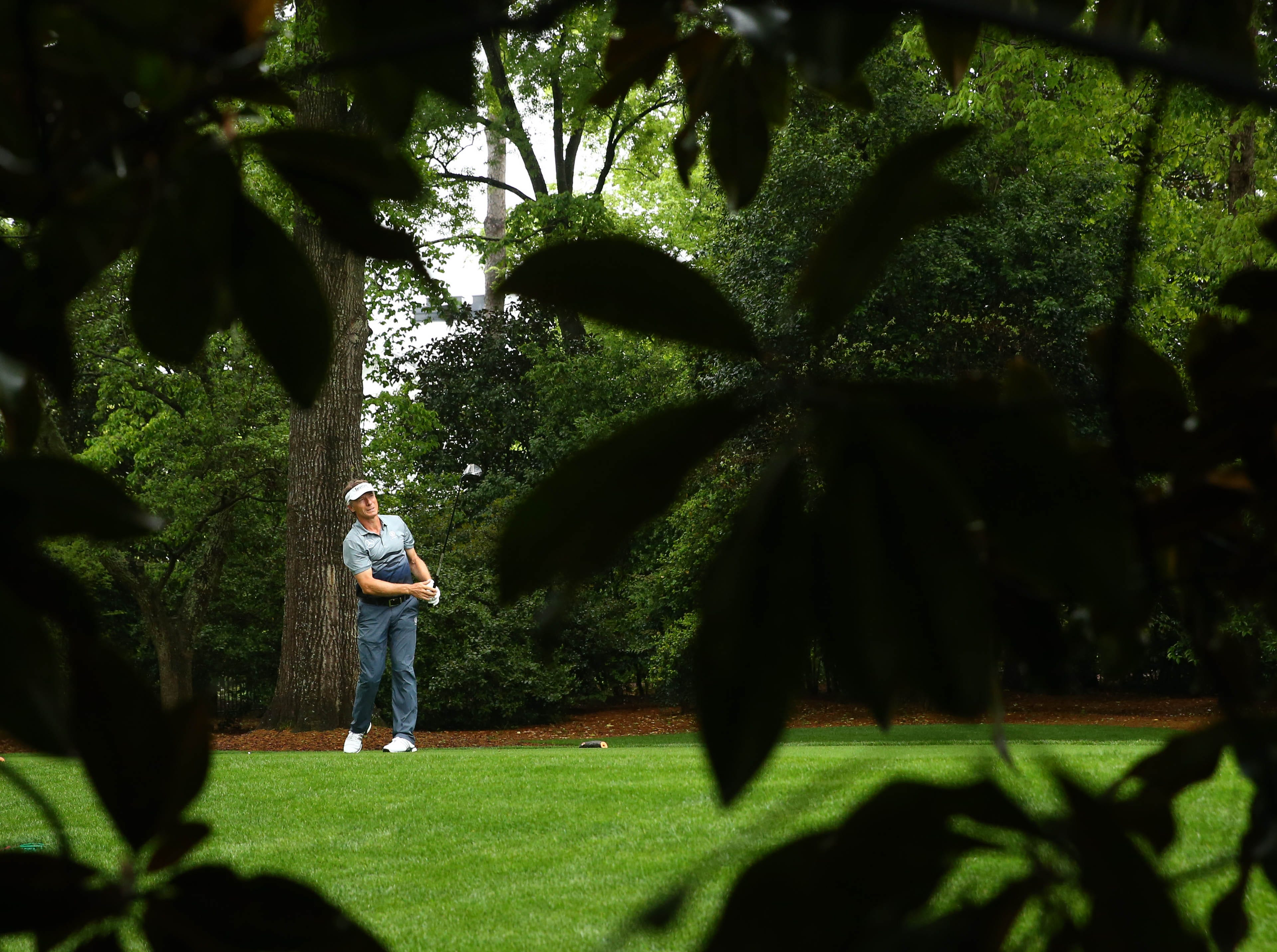 Apr 12, 2019; Augusta, GA, USA; Bernhard Langer hits his tee shot on the 2nd hole during the second round of The Masters golf tournament at Augusta National Golf Club. Mandatory Credit: Rob Schumacher-USA TODAY Sports