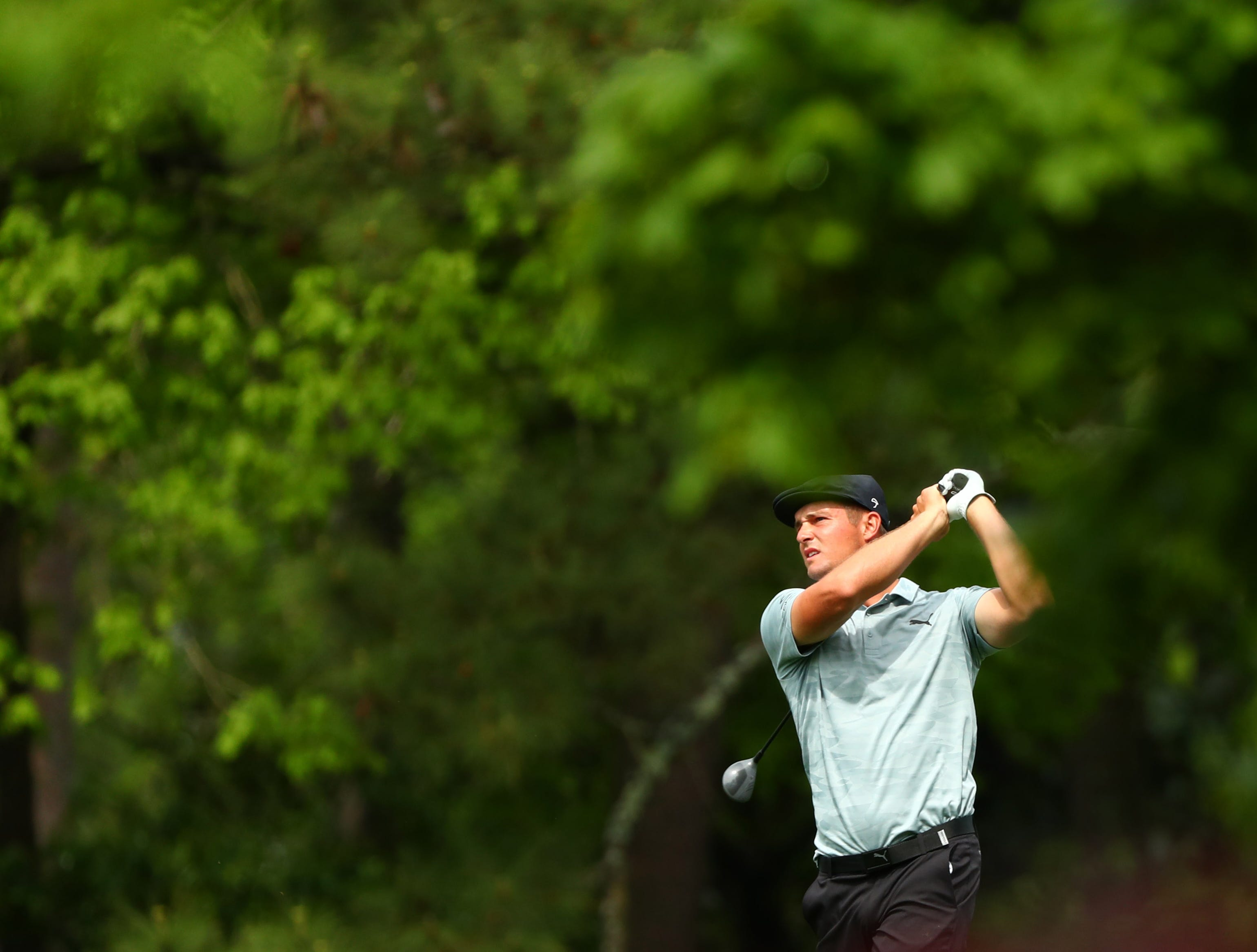Apr 12, 2019; Augusta, GA, USA; Bryson DeChambeau plays a shot on the 2nd hole during the second round of The Masters golf tournament at Augusta National Golf Club. Mandatory Credit: Rob Schumacher-USA TODAY Sports