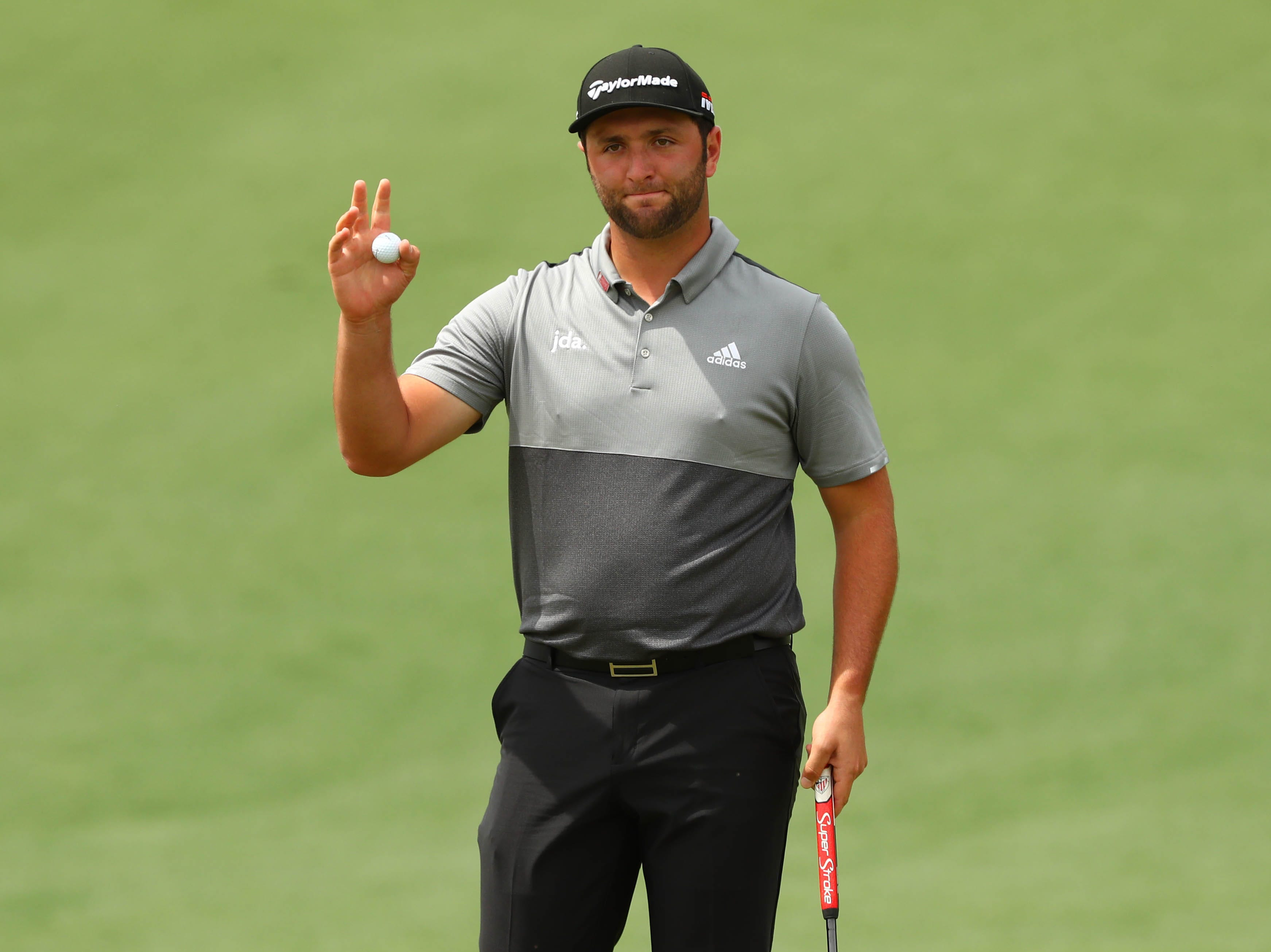 Apr 12, 2019; Augusta, GA, USA; Jon Rahm after putting on the 2nd green during the second round of The Masters golf tournament at Augusta National Golf Club. Mandatory Credit: Rob Schumacher-USA TODAY Sports