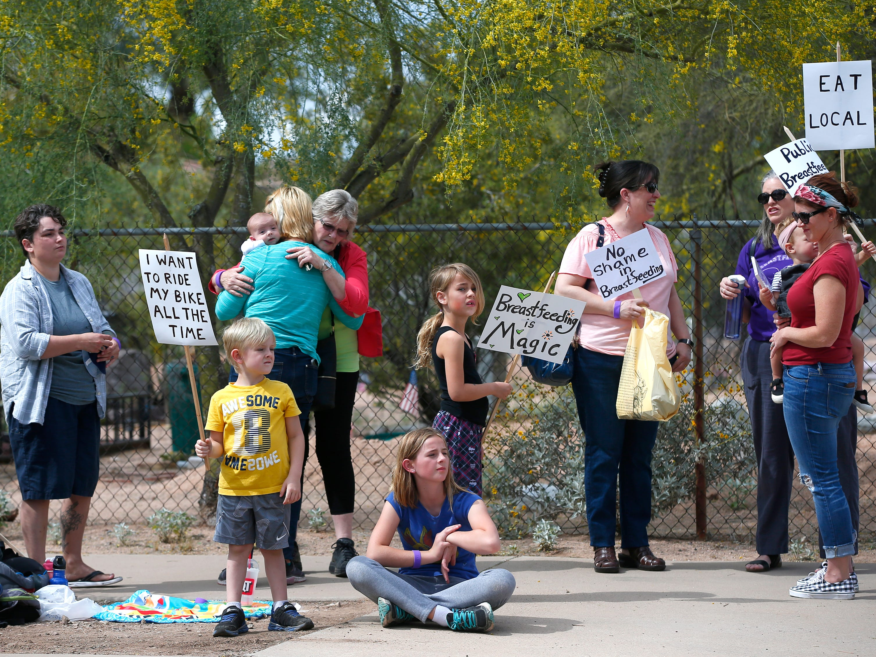 Participates draw attention to public breastfeeding during a nurse-in at Kiva Elementary in Paradise Valley.