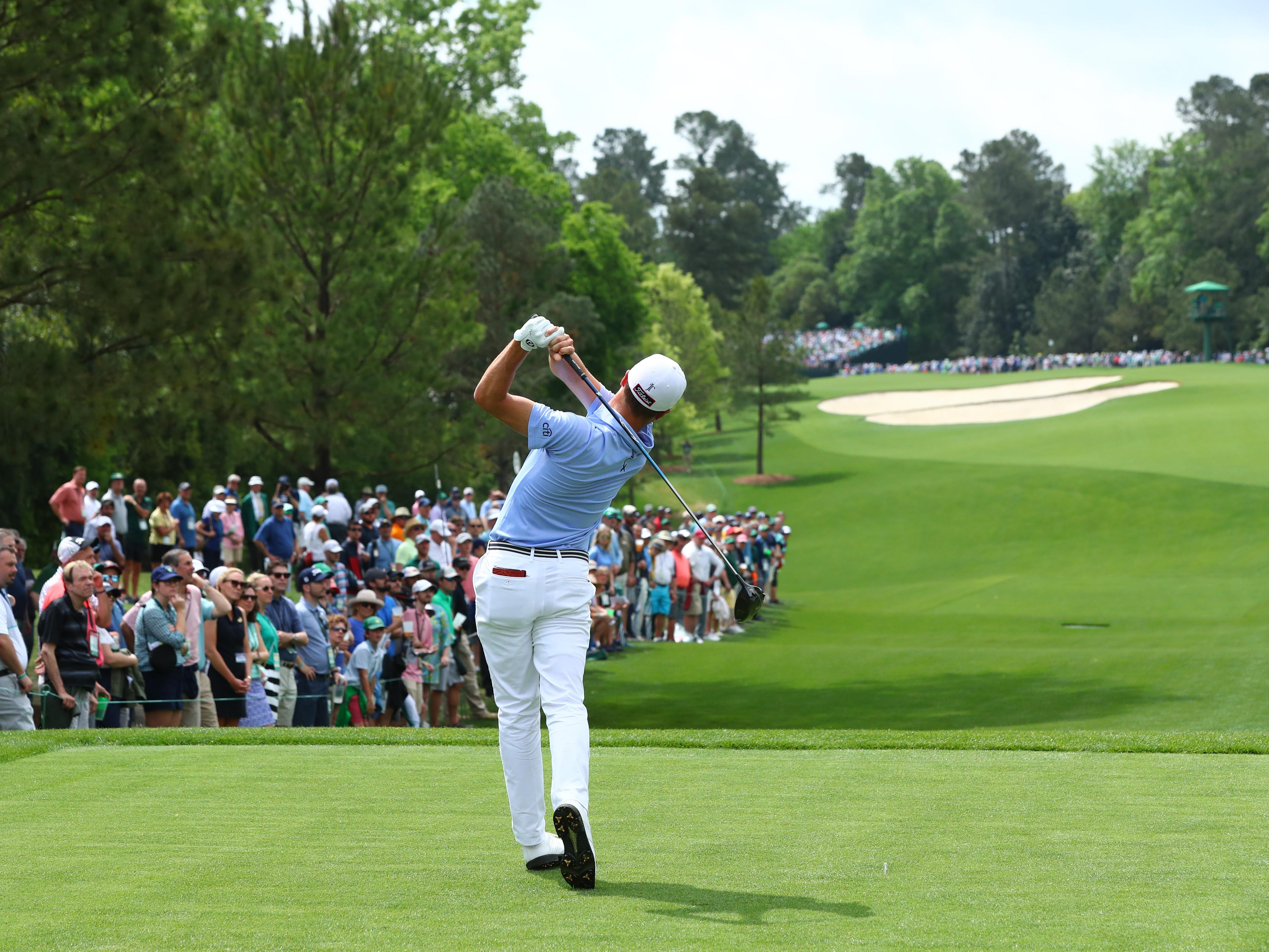 Apr 12, 2019; Augusta, GA, USA; Justin Thomas hits his tee shot on the 5th hole during the second round of The Masters golf tournament at Augusta National Golf Club. Mandatory Credit: Rob Schumacher-USA TODAY Sports