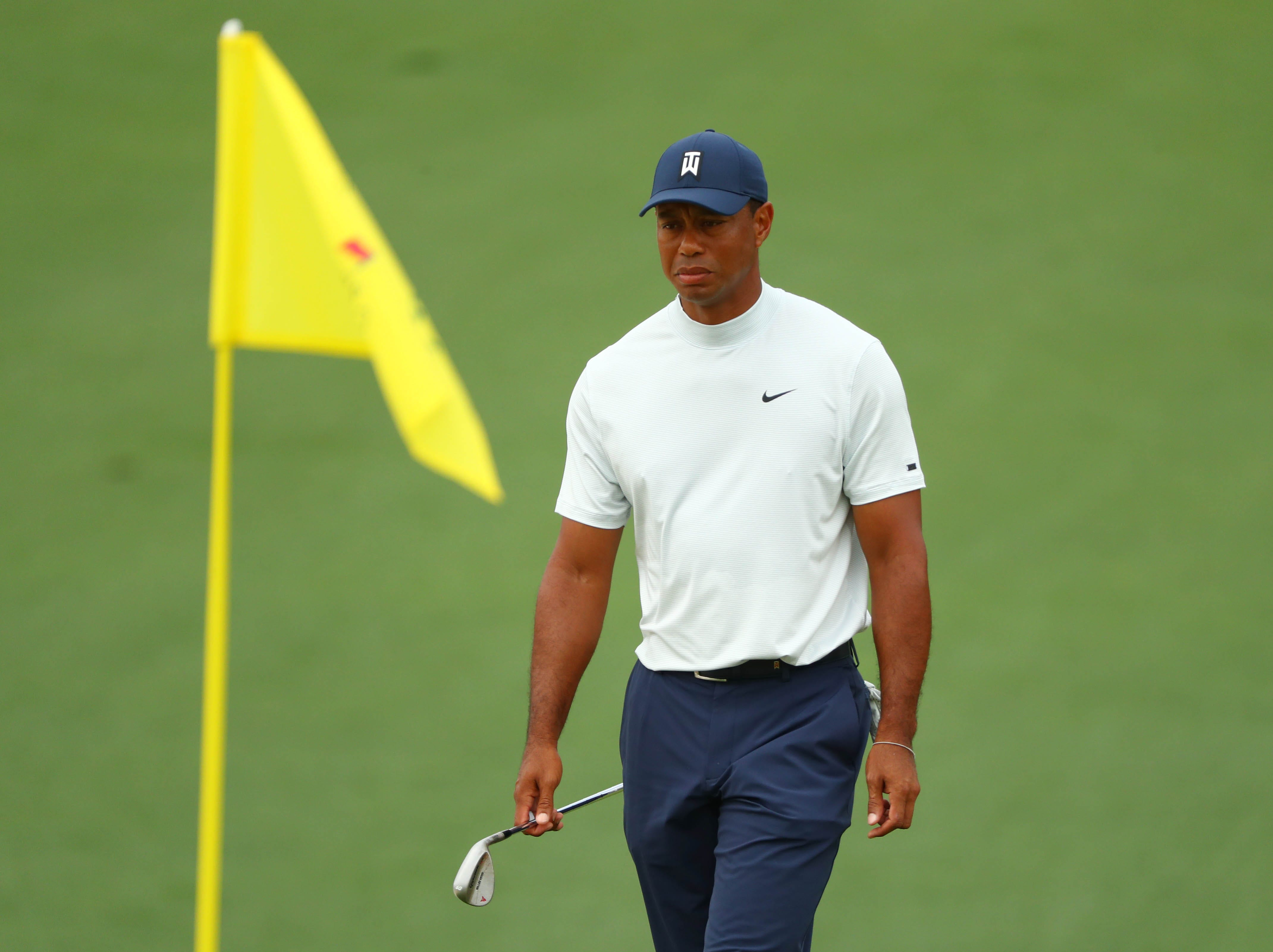 Apr 12, 2019; Augusta, GA, USA; Tiger Woods walks to the 2nd green during the second round of The Masters golf tournament at Augusta National Golf Club. Mandatory Credit: Rob Schumacher-USA TODAY Sports