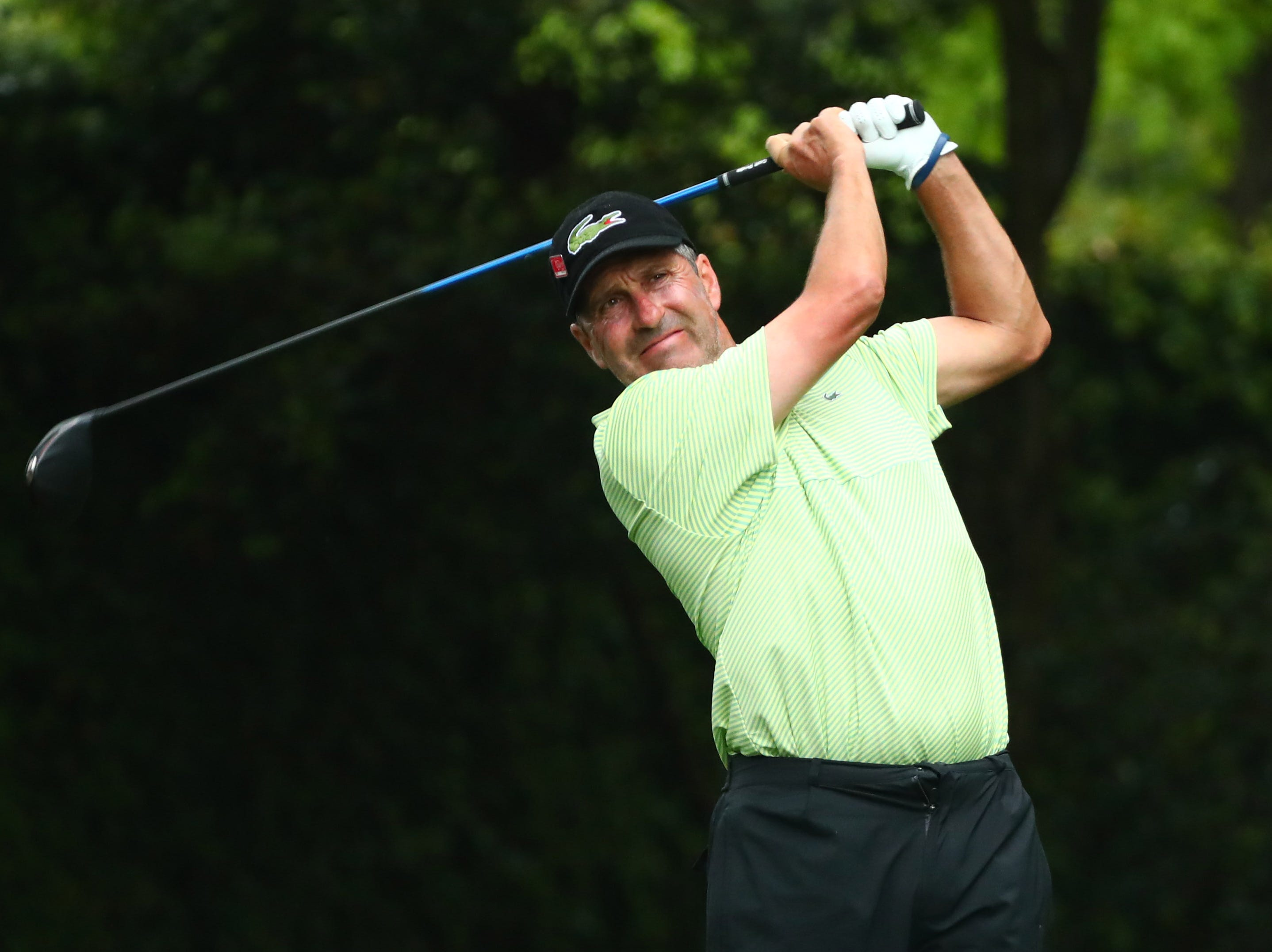 Apr 12, 2019; Augusta, GA, USA; Jose Maria Olazabal hits his tee shot on the 2nd hole during the second round of The Masters golf tournament at Augusta National Golf Club. Mandatory Credit: Rob Schumacher-USA TODAY Sports