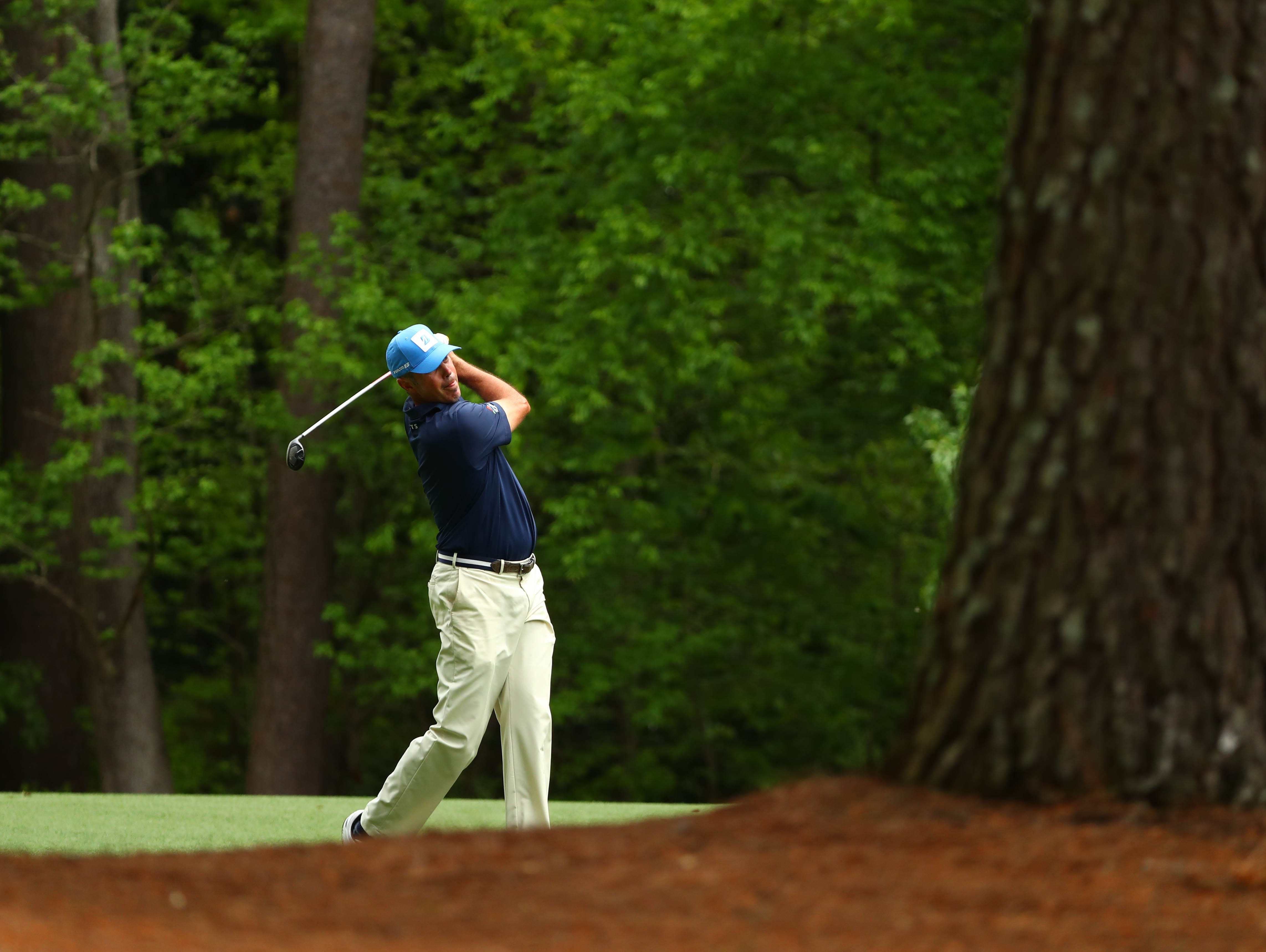 Apr 12, 2019; Augusta, GA, USA; Matt Kuchar plays a shot on the 13th hole during the second round of The Masters golf tournament at Augusta National Golf Club. Mandatory Credit: Rob Schumacher-USA TODAY Sports