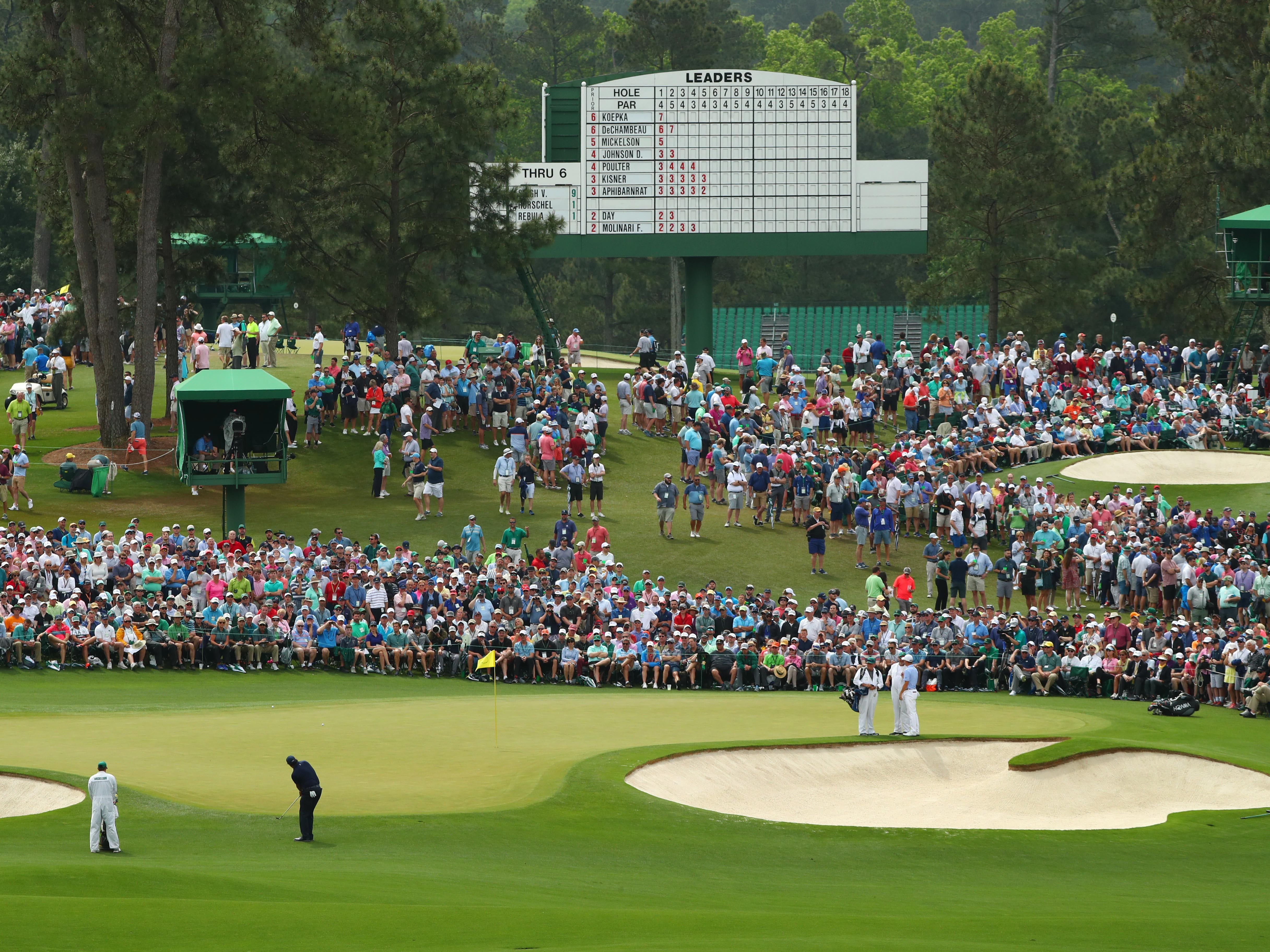 Apr 12, 2019; Augusta, GA, USA; Phil Mickelson chips onto the 2nd green during the second round of The Masters golf tournament at Augusta National Golf Club. Mandatory Credit: Rob Schumacher-USA TODAY Sports
