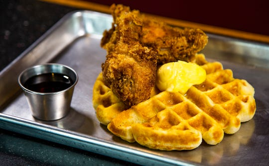 This is the chicken and waffles from Root and Soul restaurant in Scottsdale.