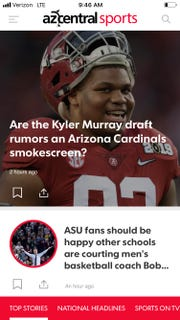 The front of the azcentral sports app.