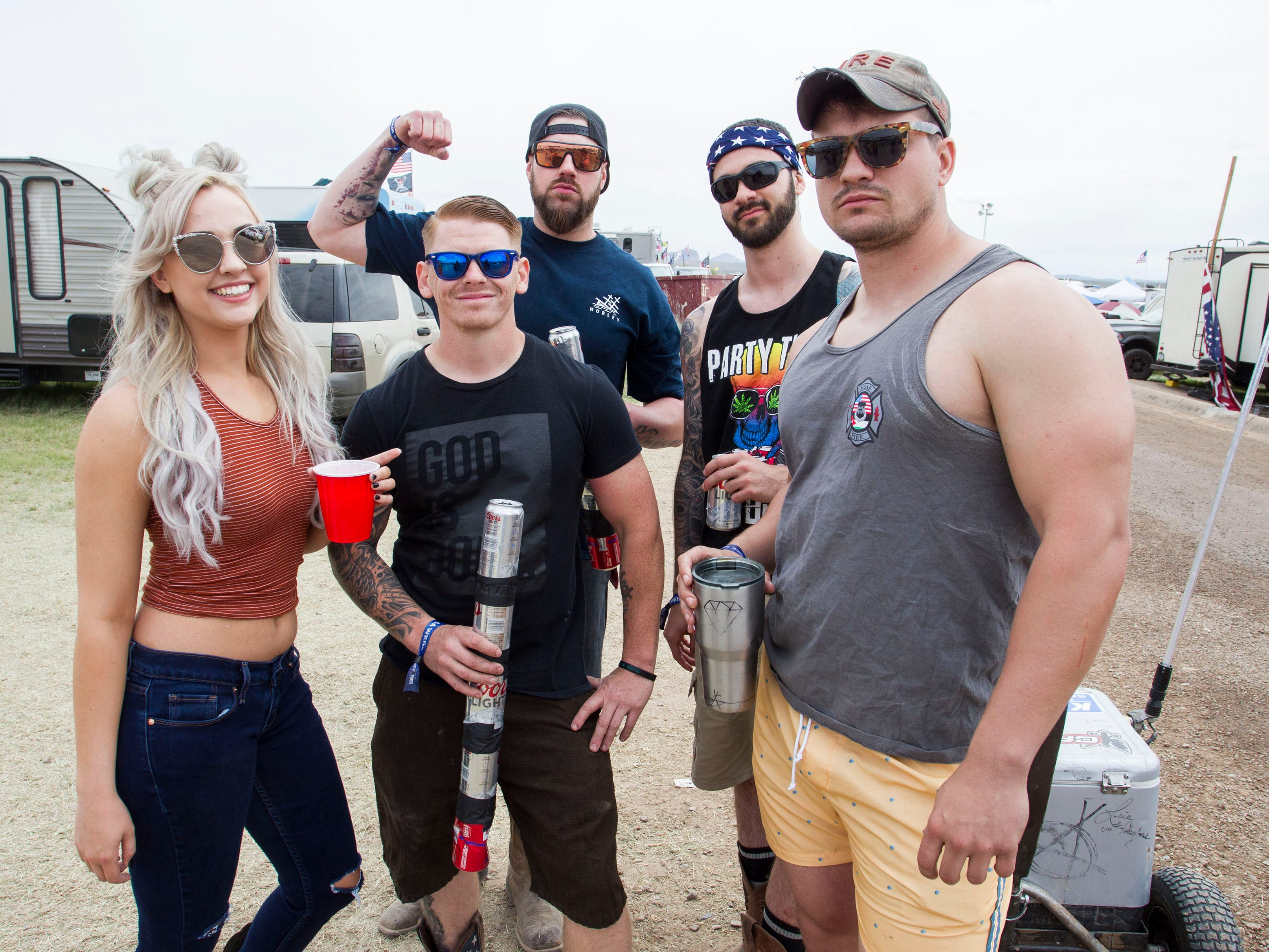 Party-goers pose as the day gets underway at Country Thunder Arizona on April 12, 2019, in Florence, Ariz.