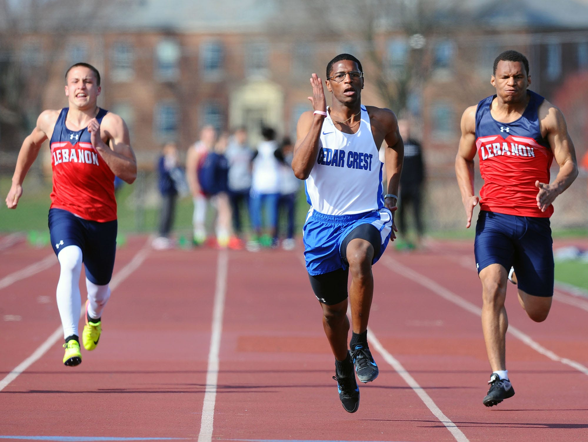 Cedar Crest's Jepel Gibbs sprints to victory in the 100 dash on Thursday.