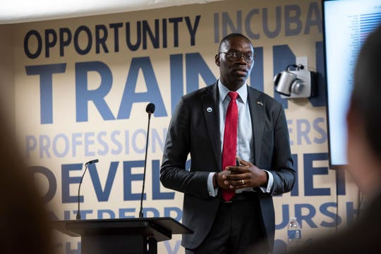 Lt. Gov. Garlin Gilchrist II speaks before a crowd of community members Friday, April 12, 2019 at The Underground in Port Huron.
