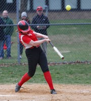 Red Hook's Helena O'Shea at bat during Thursday's game versus Highland on April 11, 2019.