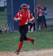Red Hook's Alexis Murphy running down the third base line in Thursday's game versus Highland on April 11, 2019.